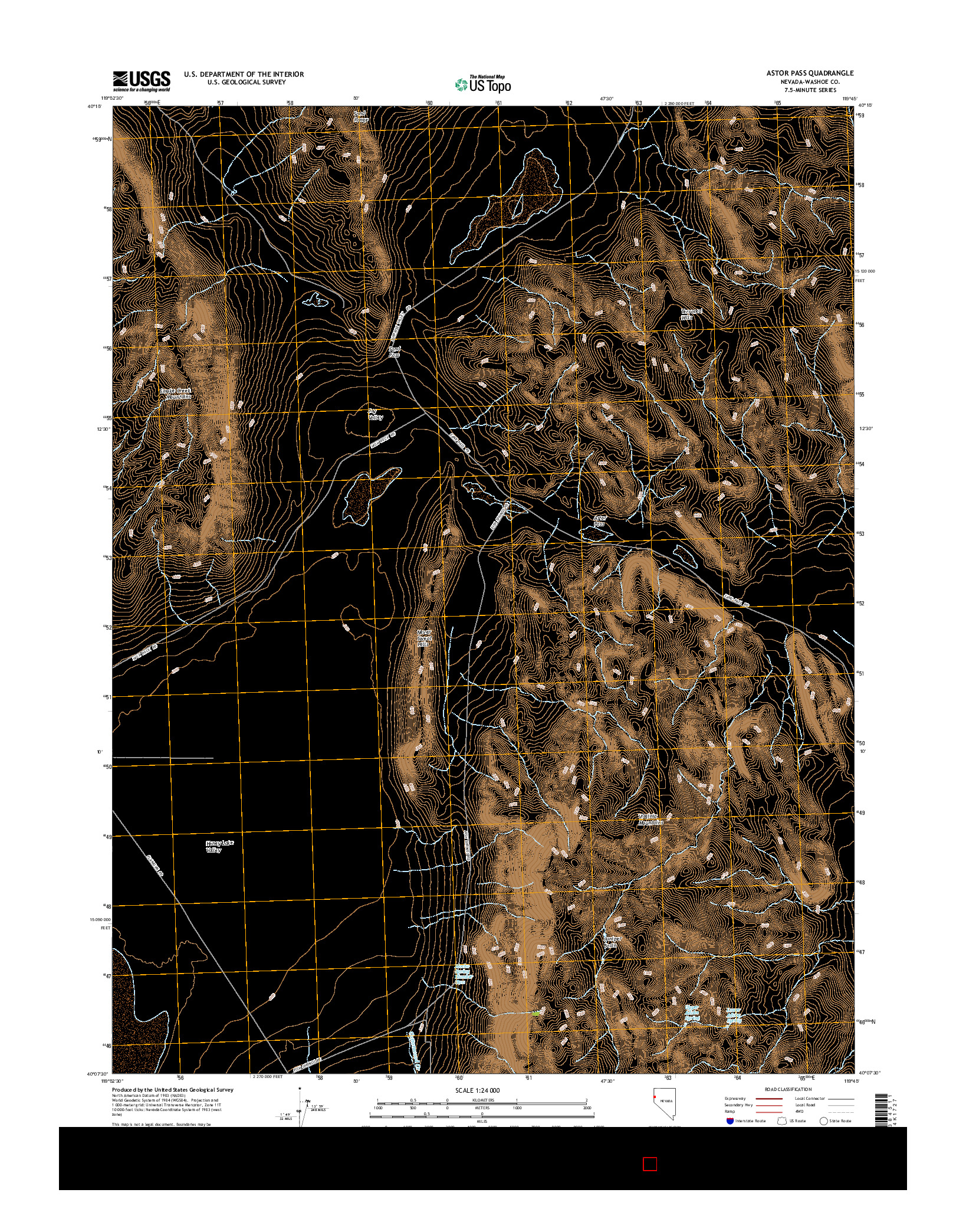 USGS US TOPO 7.5-MINUTE MAP FOR ASTOR PASS, NV 2014