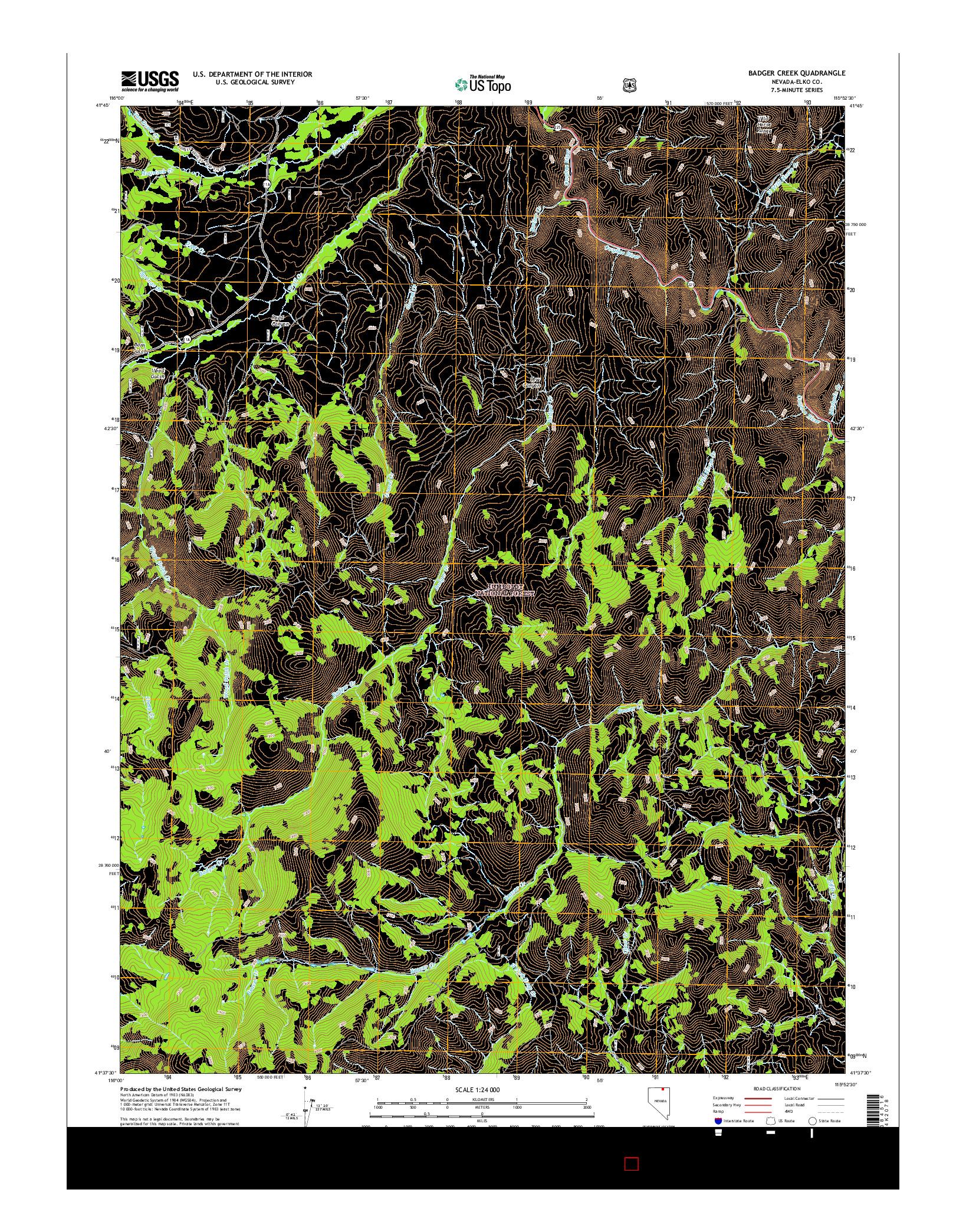 USGS US TOPO 7.5-MINUTE MAP FOR BADGER CREEK, NV 2014