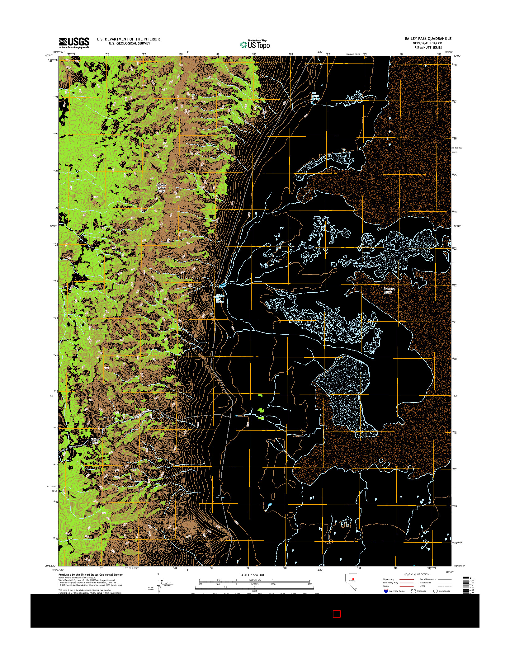USGS US TOPO 7.5-MINUTE MAP FOR BAILEY PASS, NV 2014