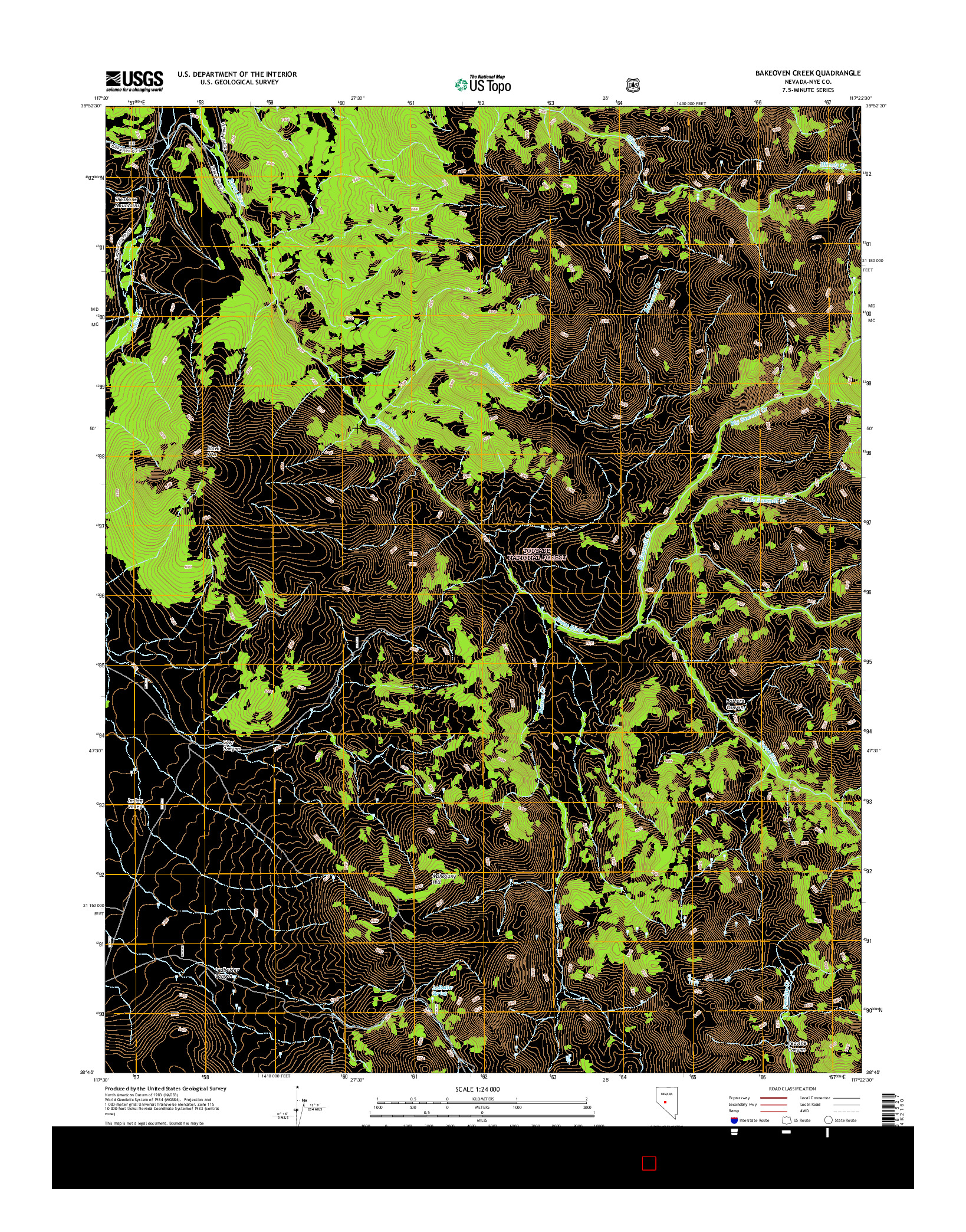 USGS US TOPO 7.5-MINUTE MAP FOR BAKEOVEN CREEK, NV 2014