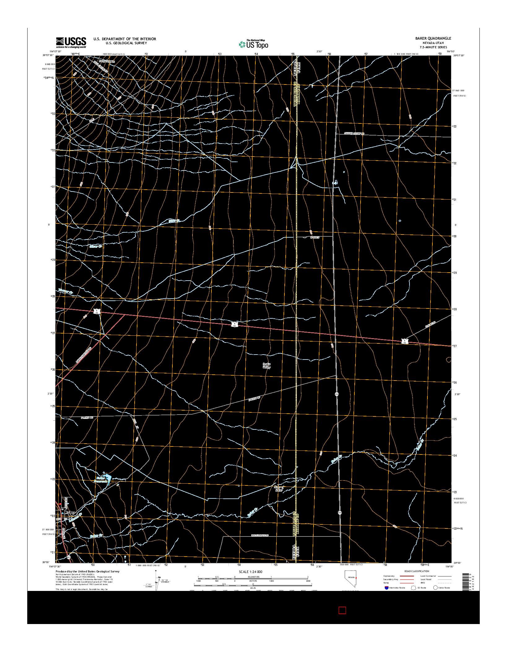 USGS US TOPO 7.5-MINUTE MAP FOR BAKER, NV-UT 2014