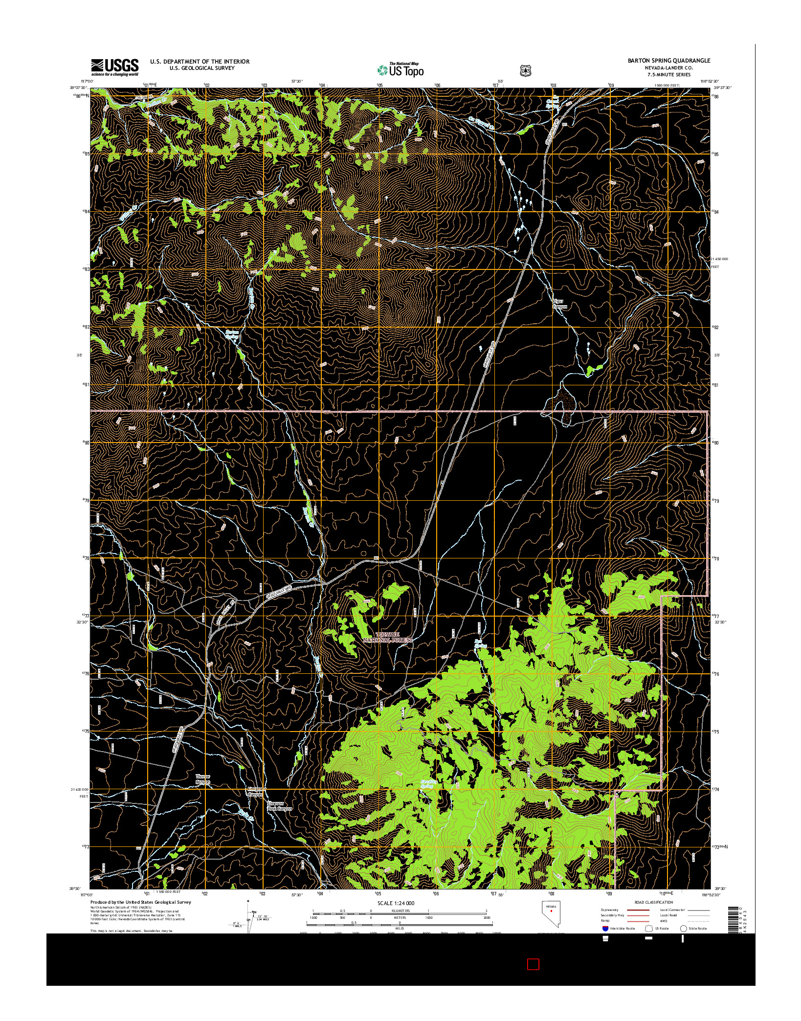 USGS US TOPO 7.5-MINUTE MAP FOR BARTON SPRING, NV 2014