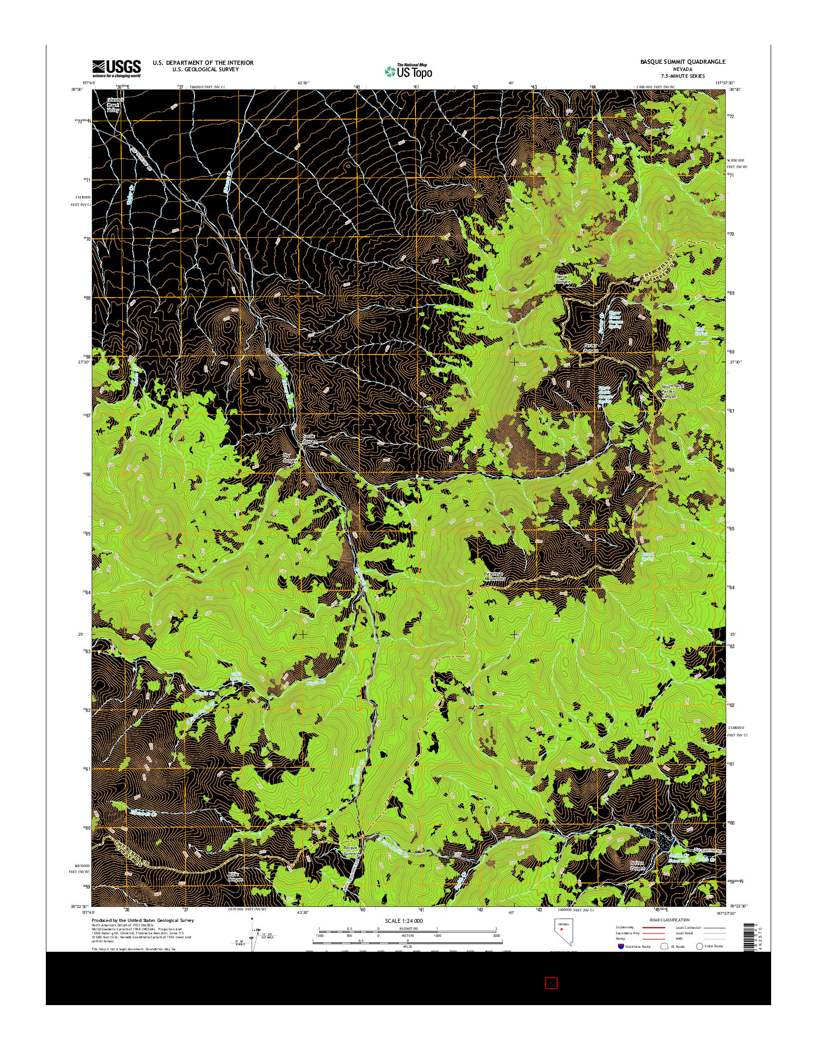 USGS US TOPO 7.5-MINUTE MAP FOR BASQUE SUMMIT, NV 2014
