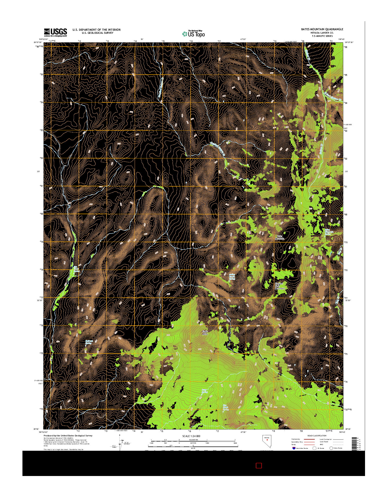 USGS US TOPO 7.5-MINUTE MAP FOR BATES MOUNTAIN, NV 2014