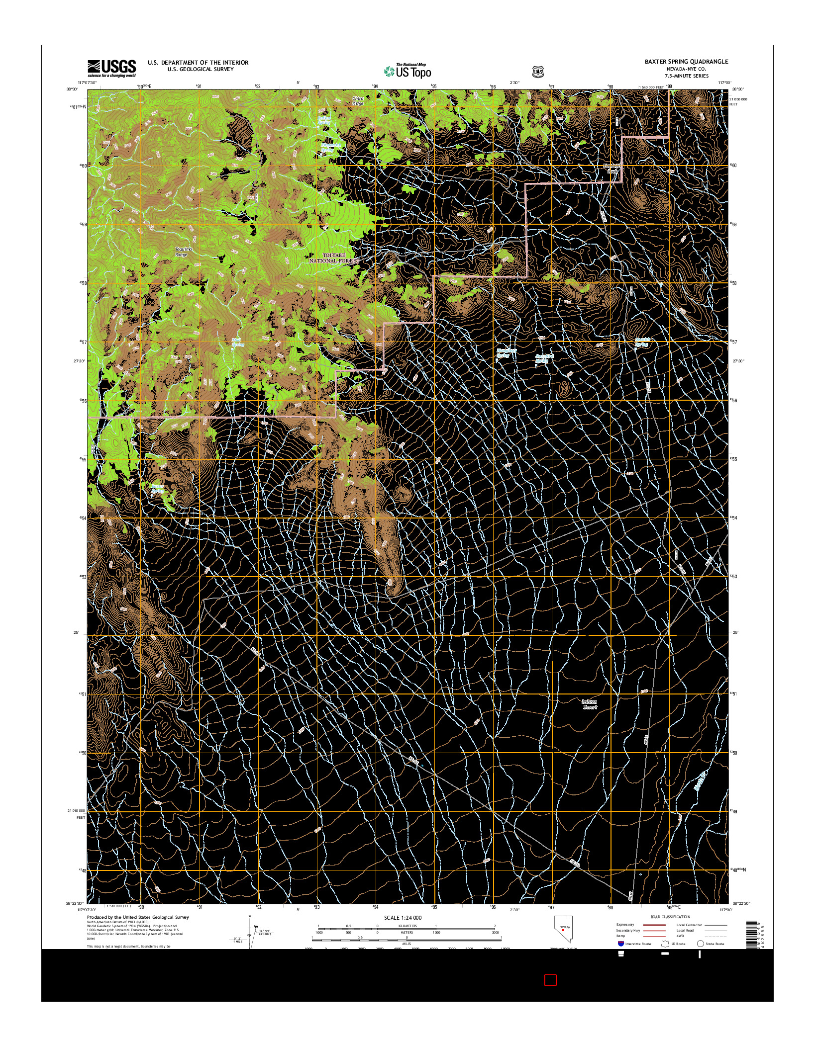 USGS US TOPO 7.5-MINUTE MAP FOR BAXTER SPRING, NV 2014