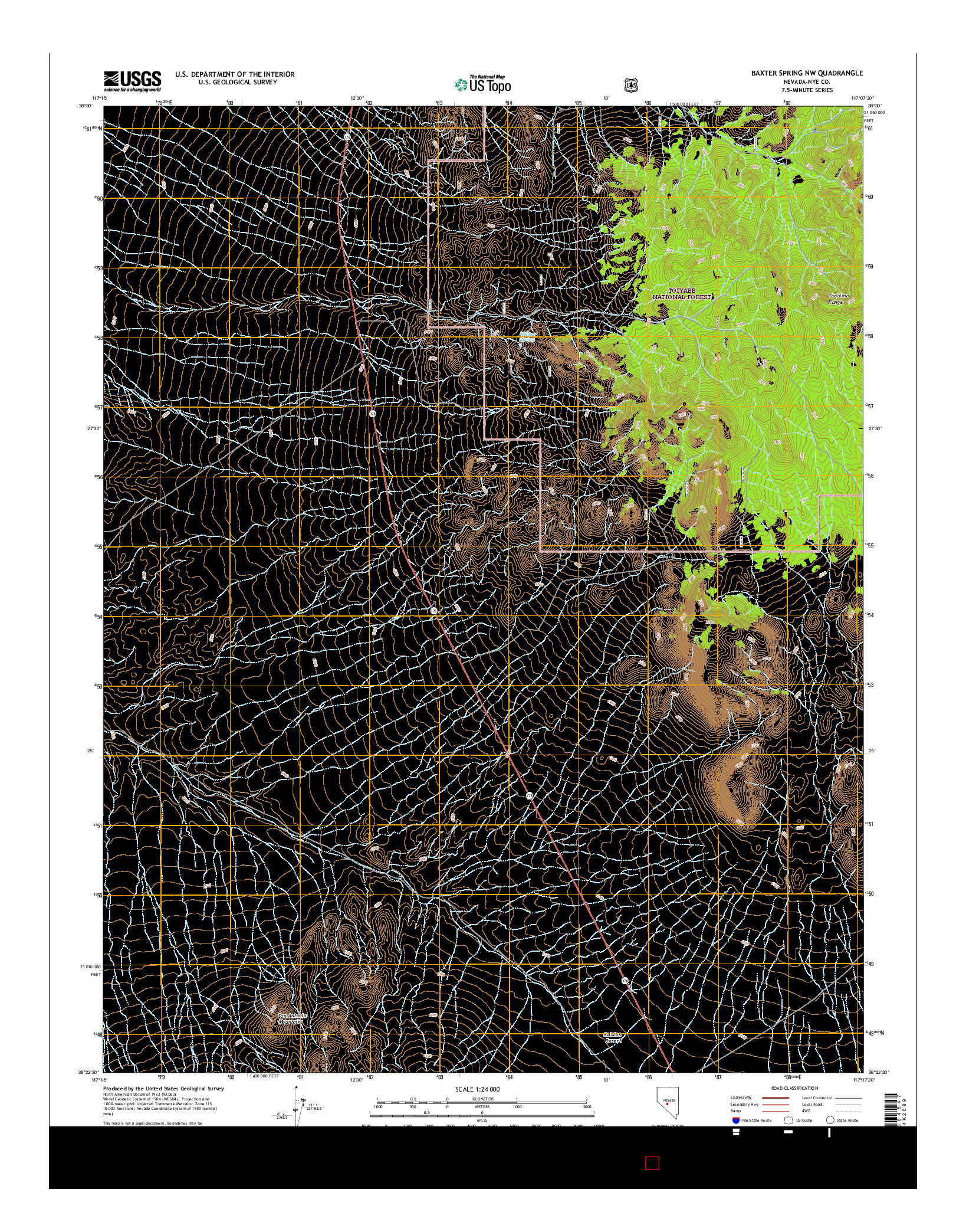 USGS US TOPO 7.5-MINUTE MAP FOR BAXTER SPRING NW, NV 2014