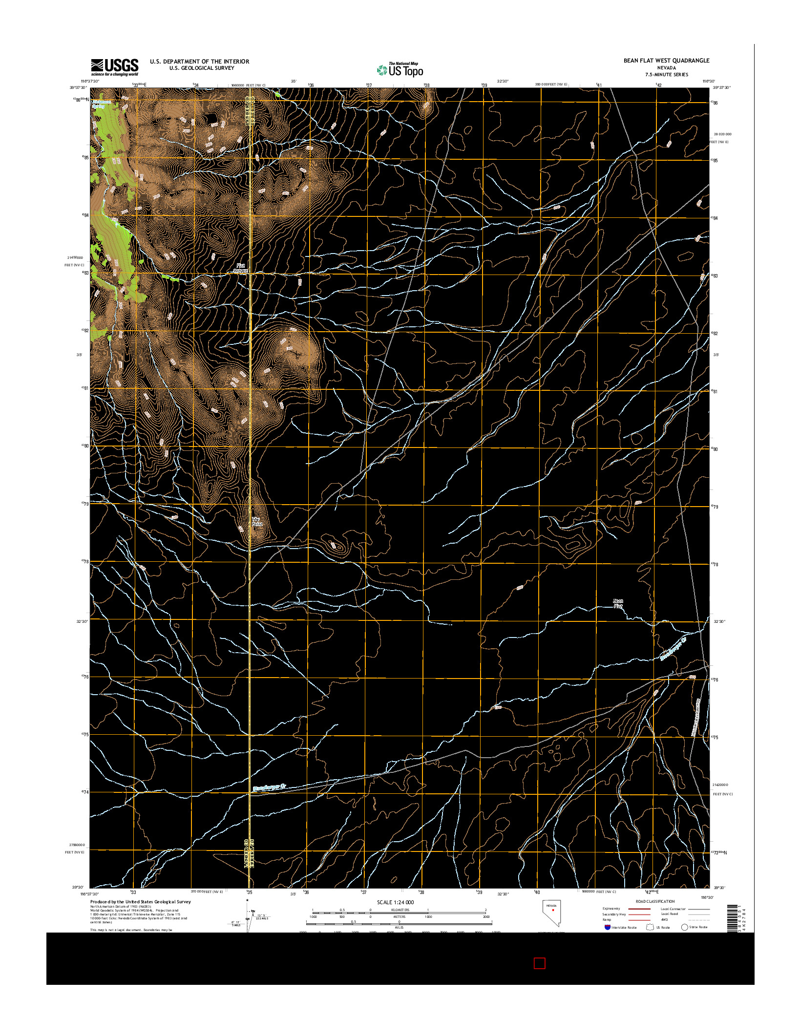 USGS US TOPO 7.5-MINUTE MAP FOR BEAN FLAT WEST, NV 2014