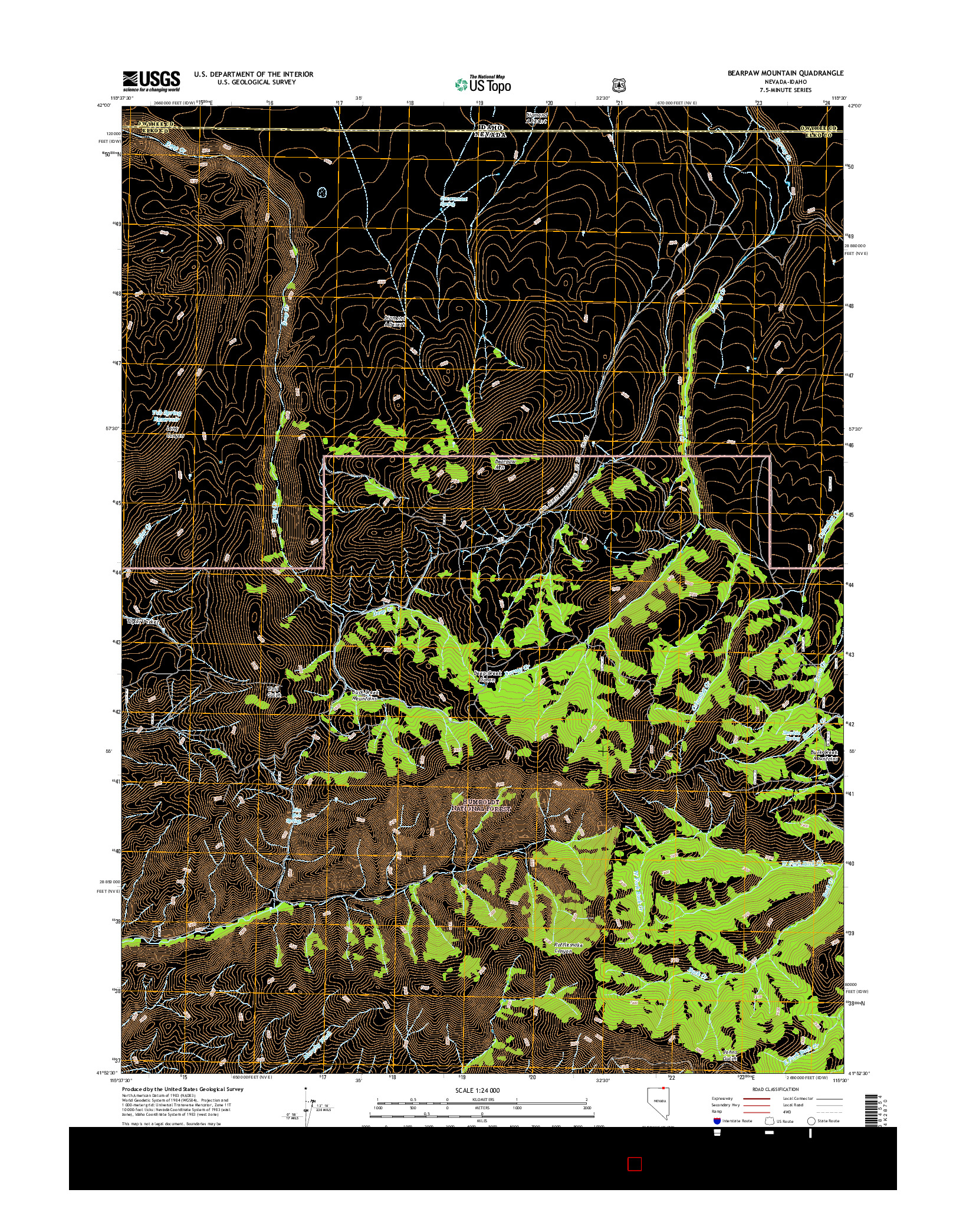 USGS US TOPO 7.5-MINUTE MAP FOR BEARPAW MOUNTAIN, NV-ID 2014
