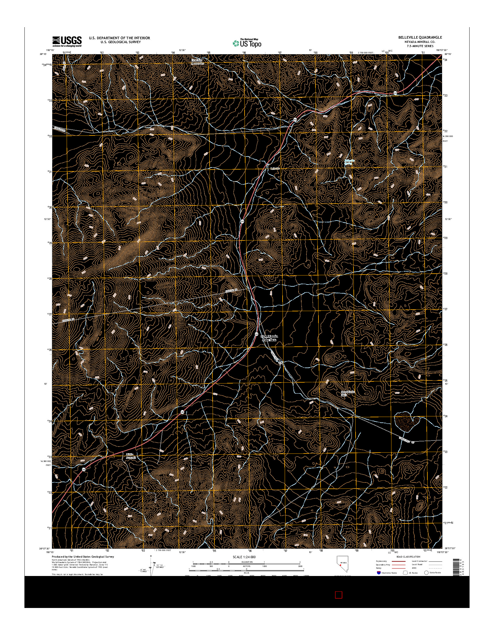 USGS US TOPO 7.5-MINUTE MAP FOR BELLEVILLE, NV 2014