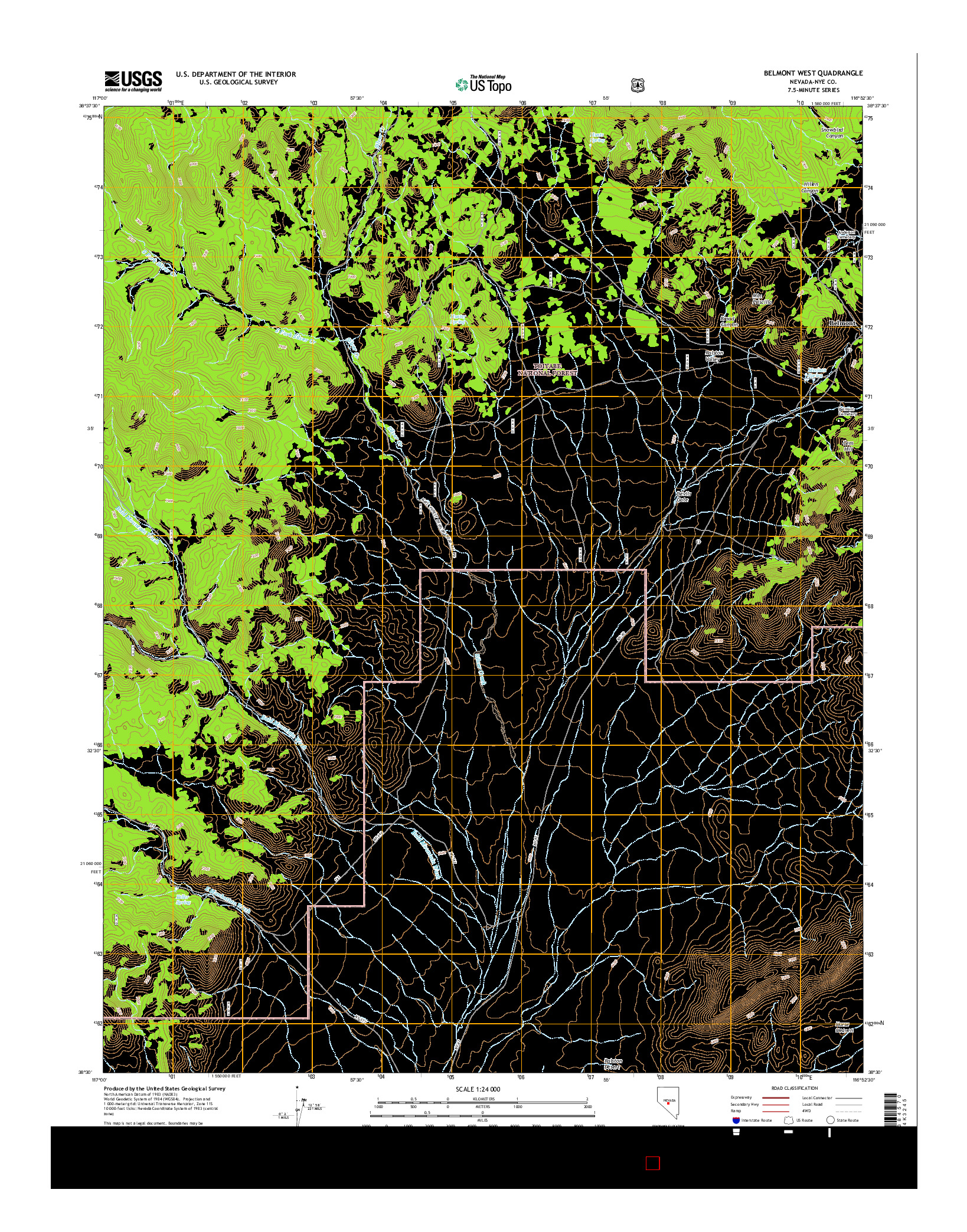 USGS US TOPO 7.5-MINUTE MAP FOR BELMONT WEST, NV 2014