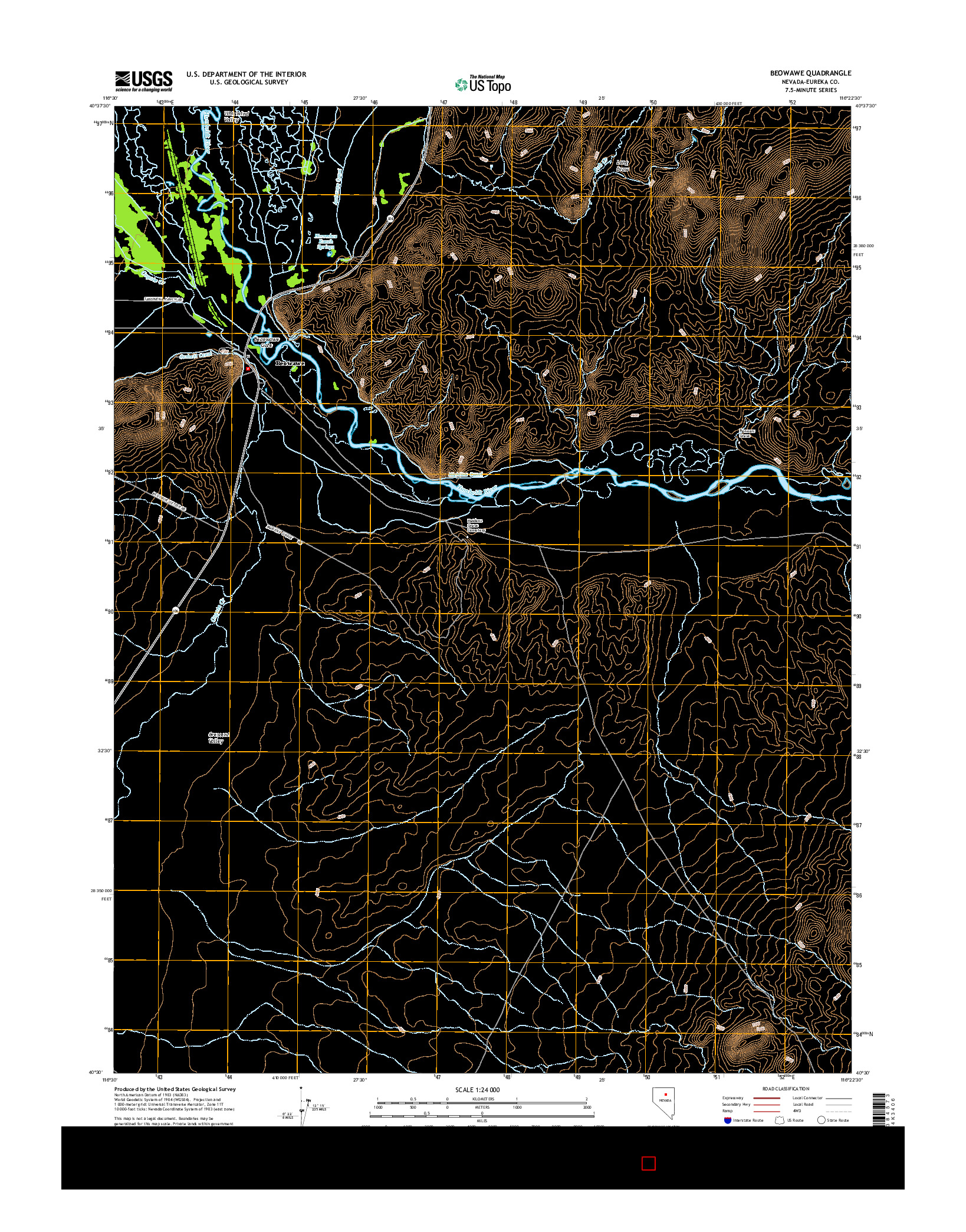 USGS US TOPO 7.5-MINUTE MAP FOR BEOWAWE, NV 2014