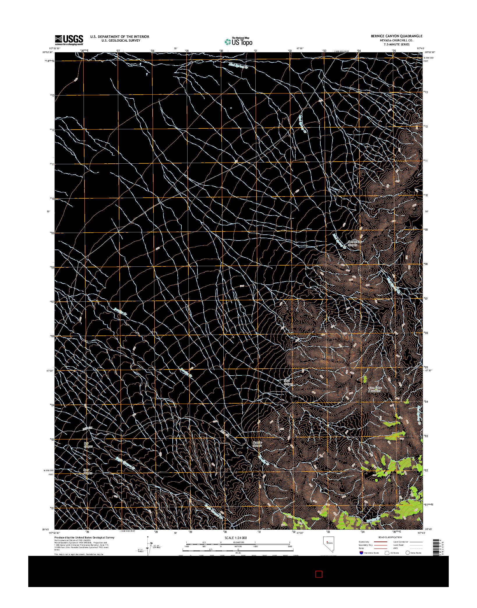 USGS US TOPO 7.5-MINUTE MAP FOR BERNICE CANYON, NV 2014