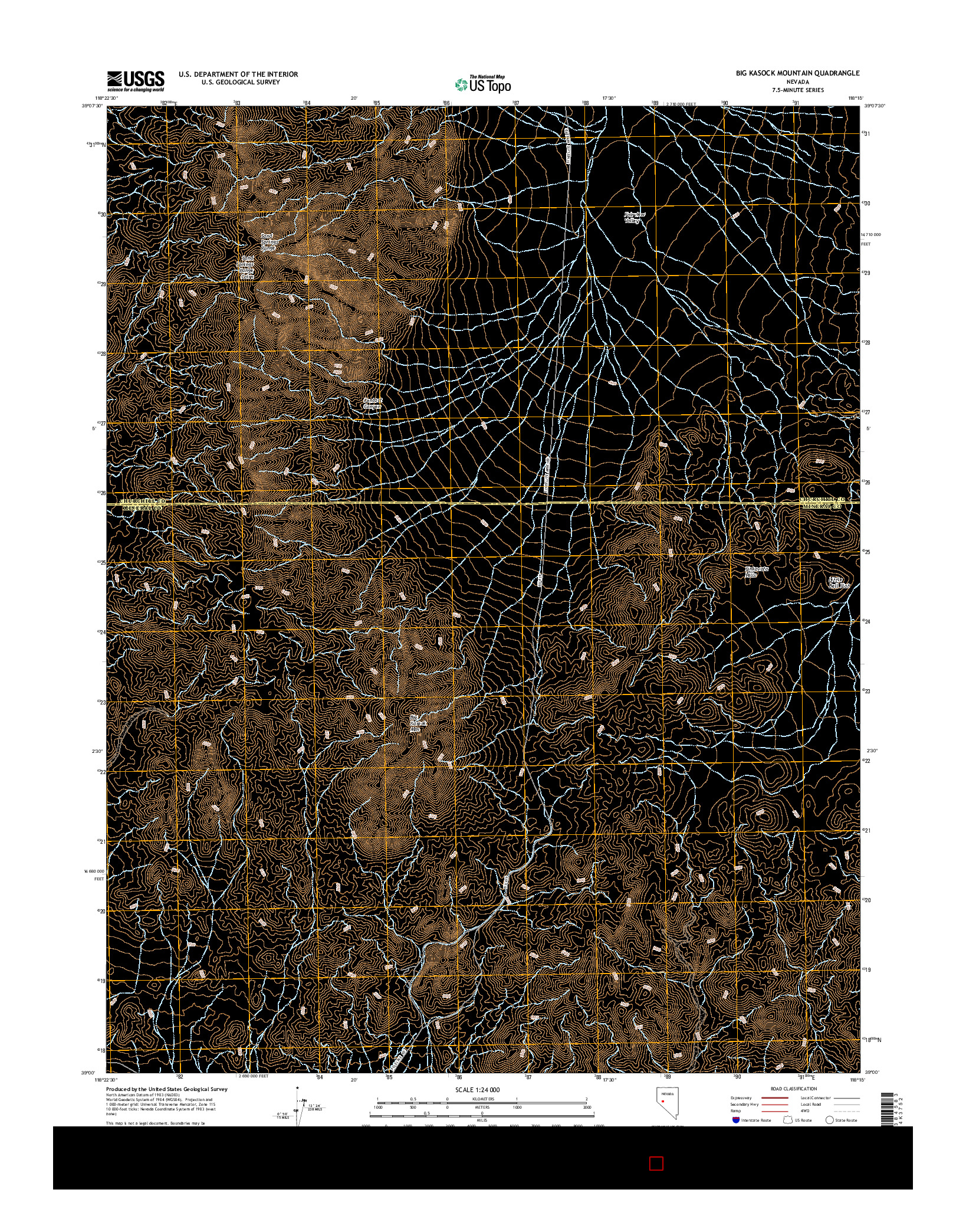 USGS US TOPO 7.5-MINUTE MAP FOR BIG KASOCK MOUNTAIN, NV 2014