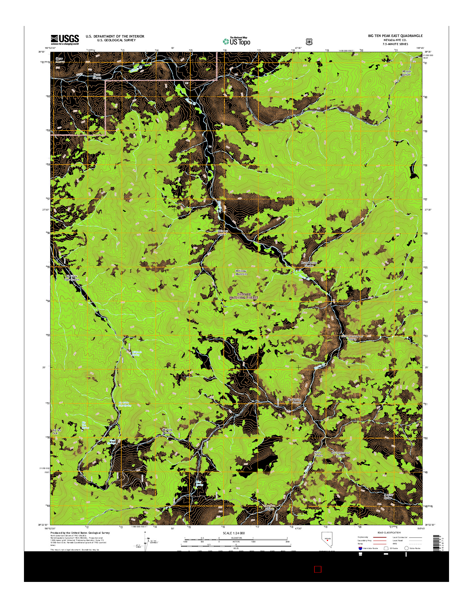USGS US TOPO 7.5-MINUTE MAP FOR BIG TEN PEAK EAST, NV 2014