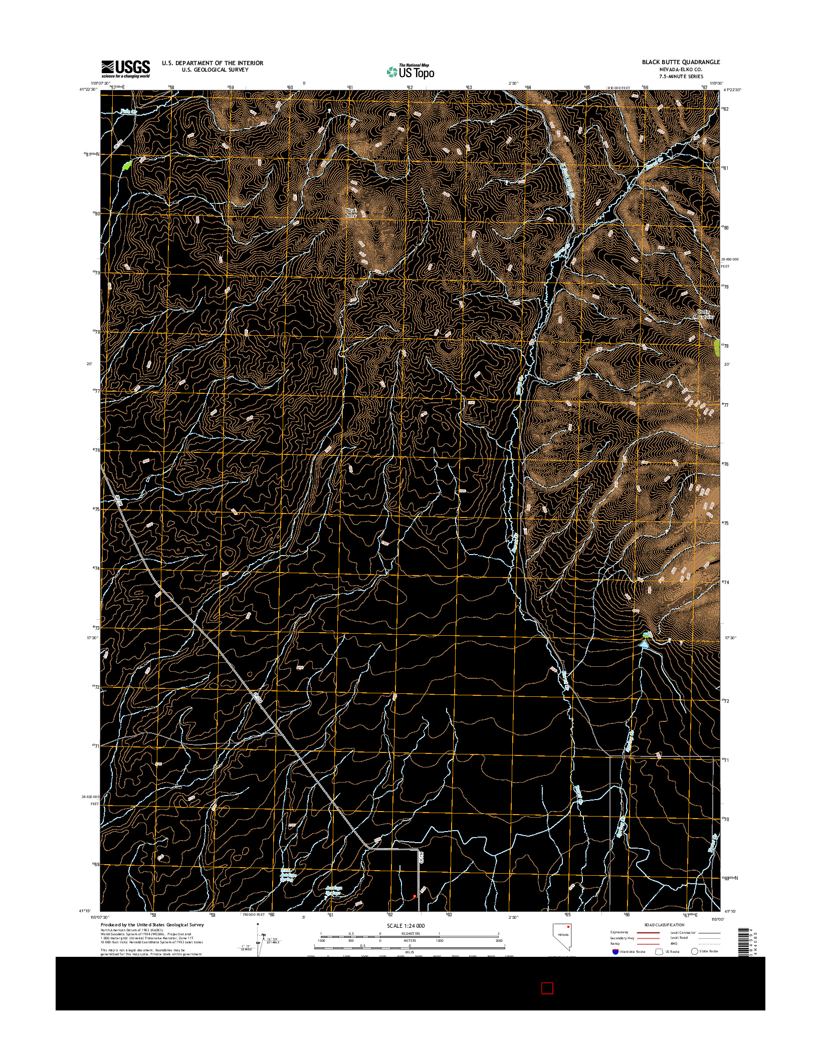 USGS US TOPO 7.5-MINUTE MAP FOR BLACK BUTTE, NV 2014