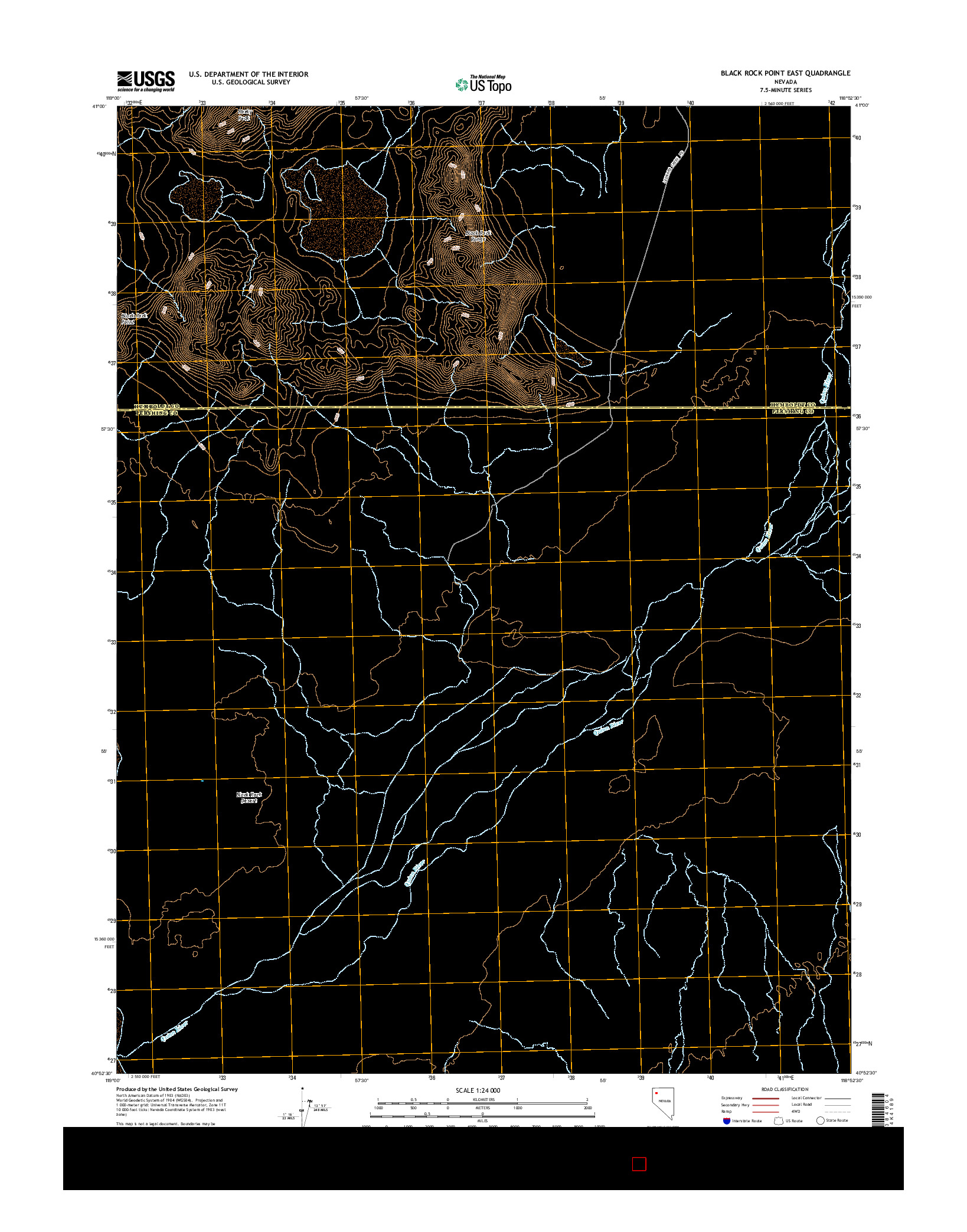 USGS US TOPO 7.5-MINUTE MAP FOR BLACK ROCK POINT EAST, NV 2014