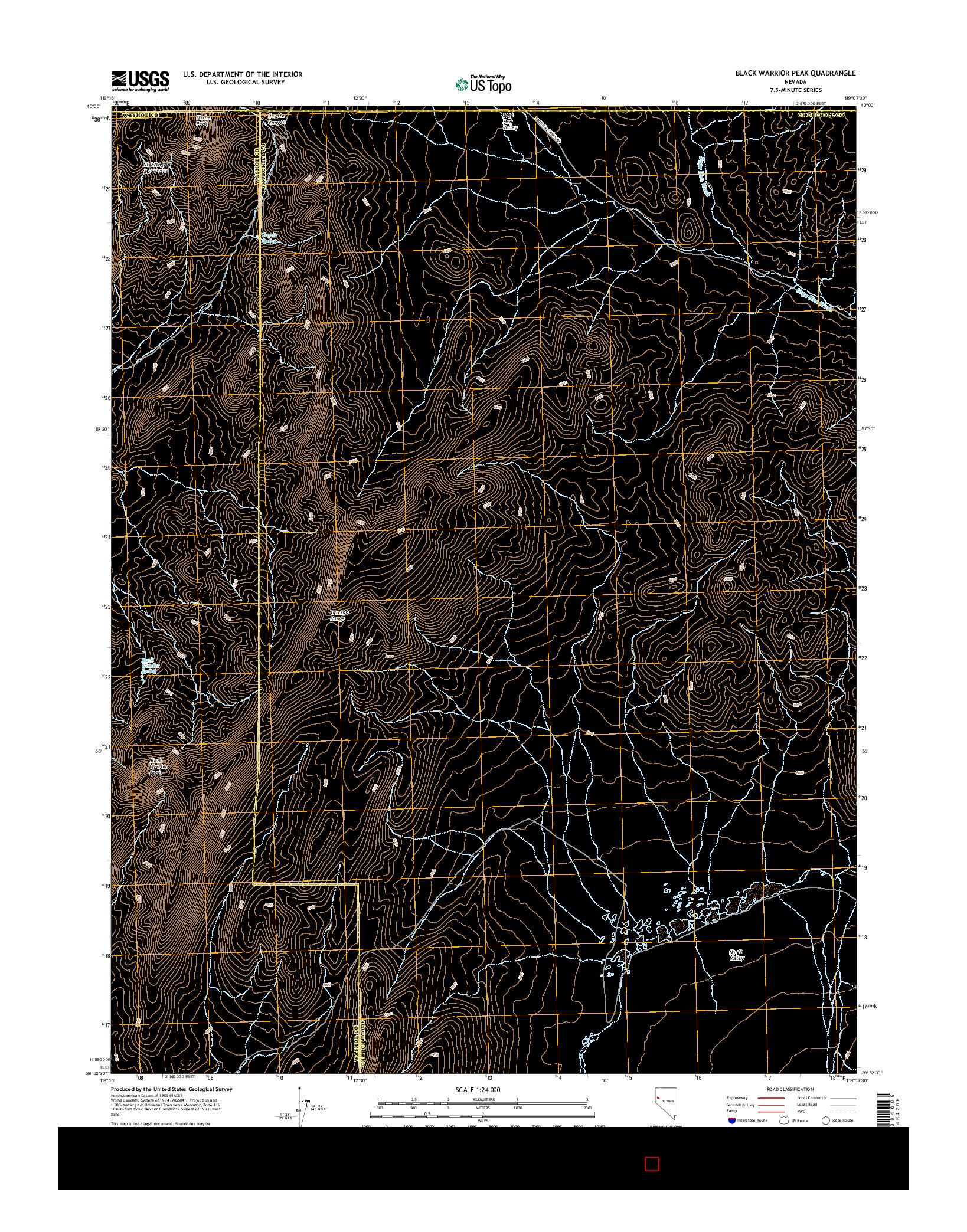 USGS US TOPO 7.5-MINUTE MAP FOR BLACK WARRIOR PEAK, NV 2014