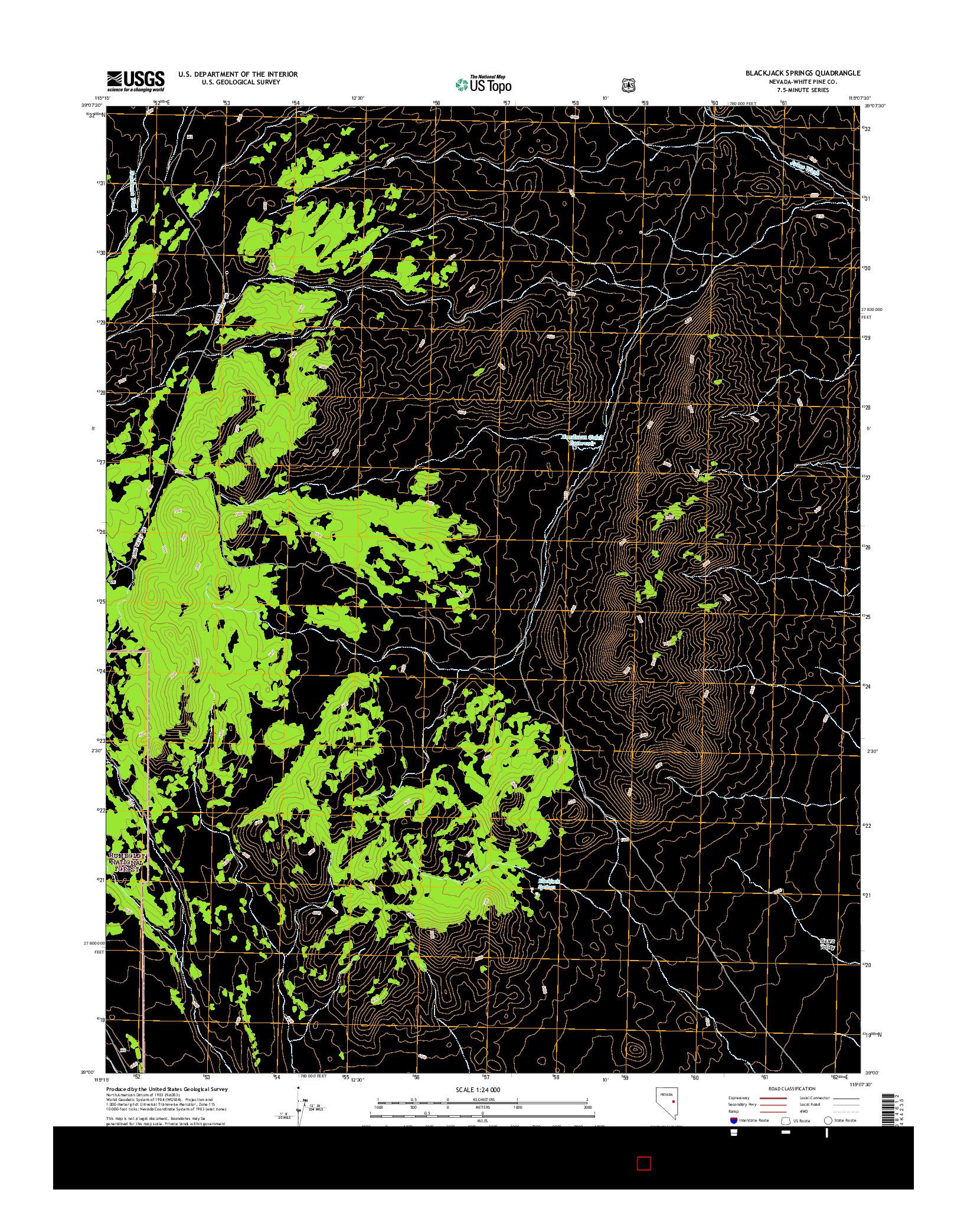 USGS US TOPO 7.5-MINUTE MAP FOR BLACKJACK SPRINGS, NV 2014