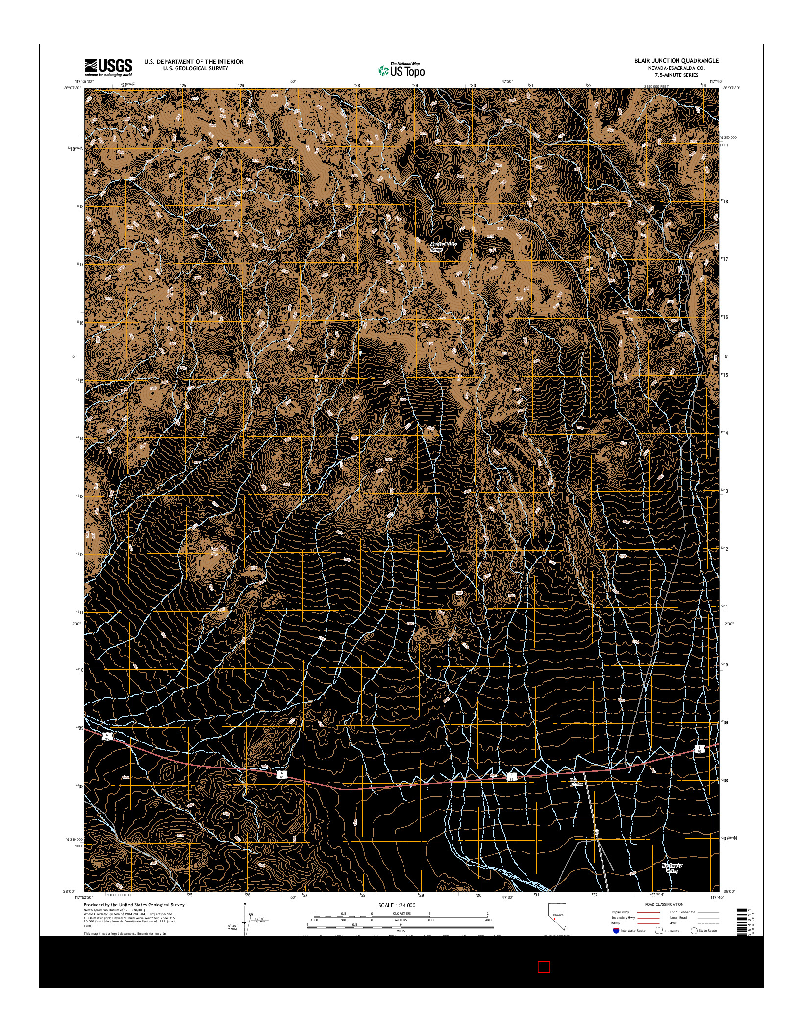 USGS US TOPO 7.5-MINUTE MAP FOR BLAIR JUNCTION, NV 2014