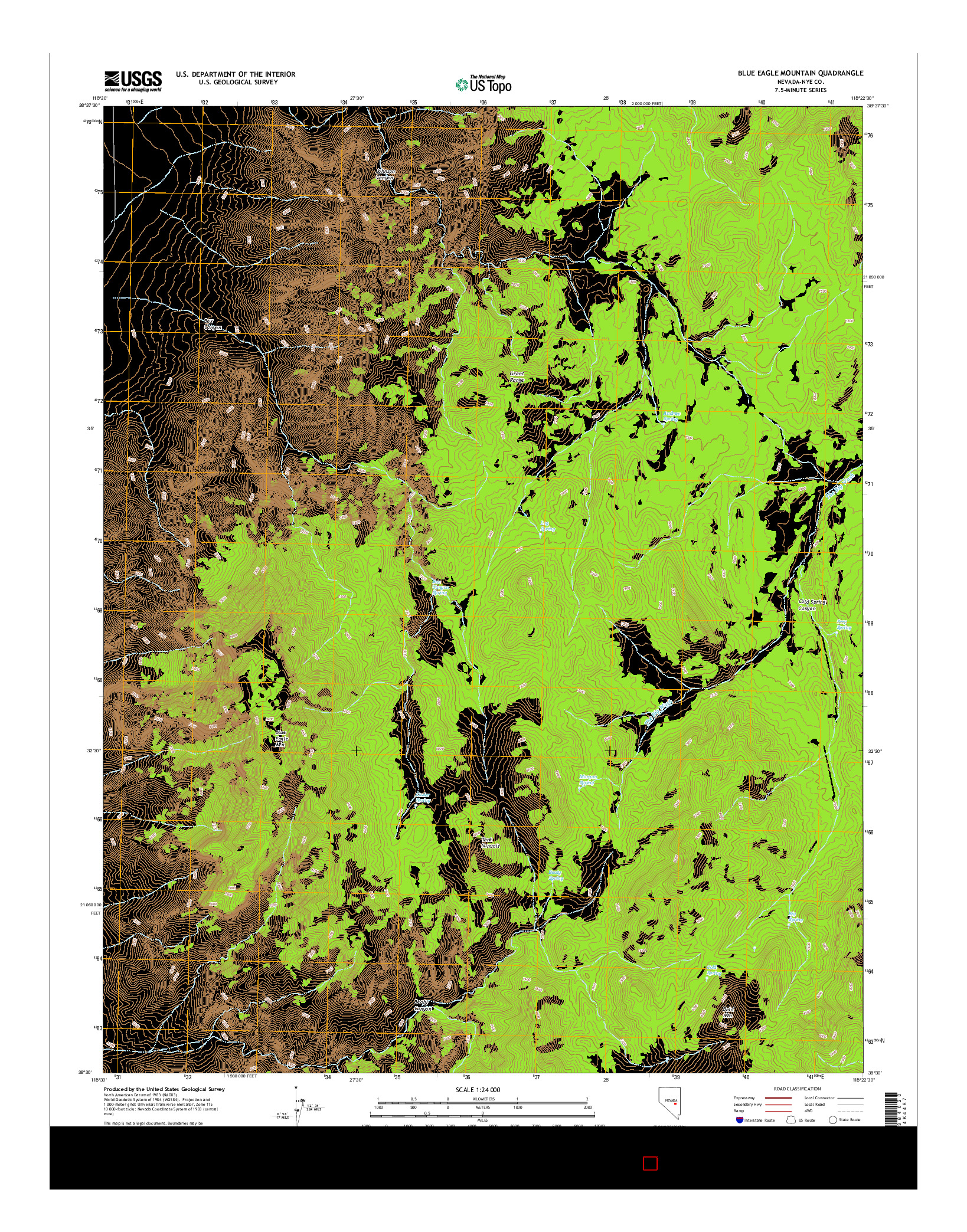 USGS US TOPO 7.5-MINUTE MAP FOR BLUE EAGLE MOUNTAIN, NV 2014