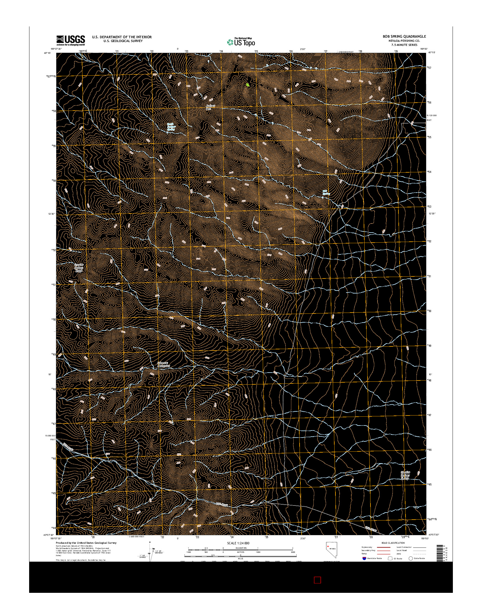 USGS US TOPO 7.5-MINUTE MAP FOR BOB SPRING, NV 2014
