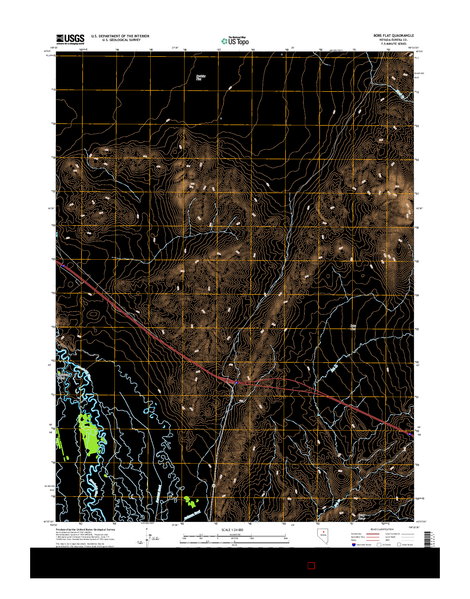 USGS US TOPO 7.5-MINUTE MAP FOR BOBS FLAT, NV 2014
