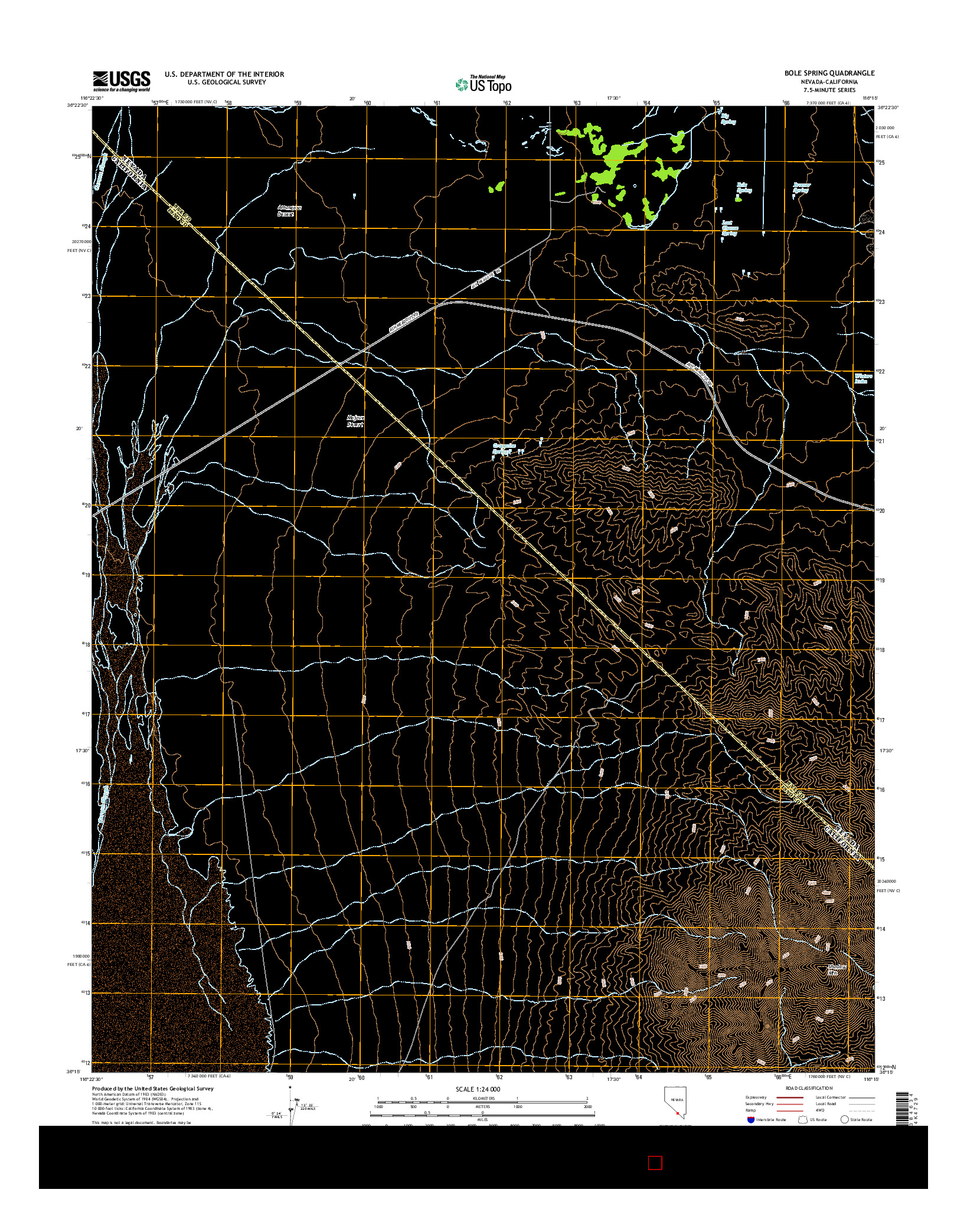 USGS US TOPO 7.5-MINUTE MAP FOR BOLE SPRING, NV-CA 2014