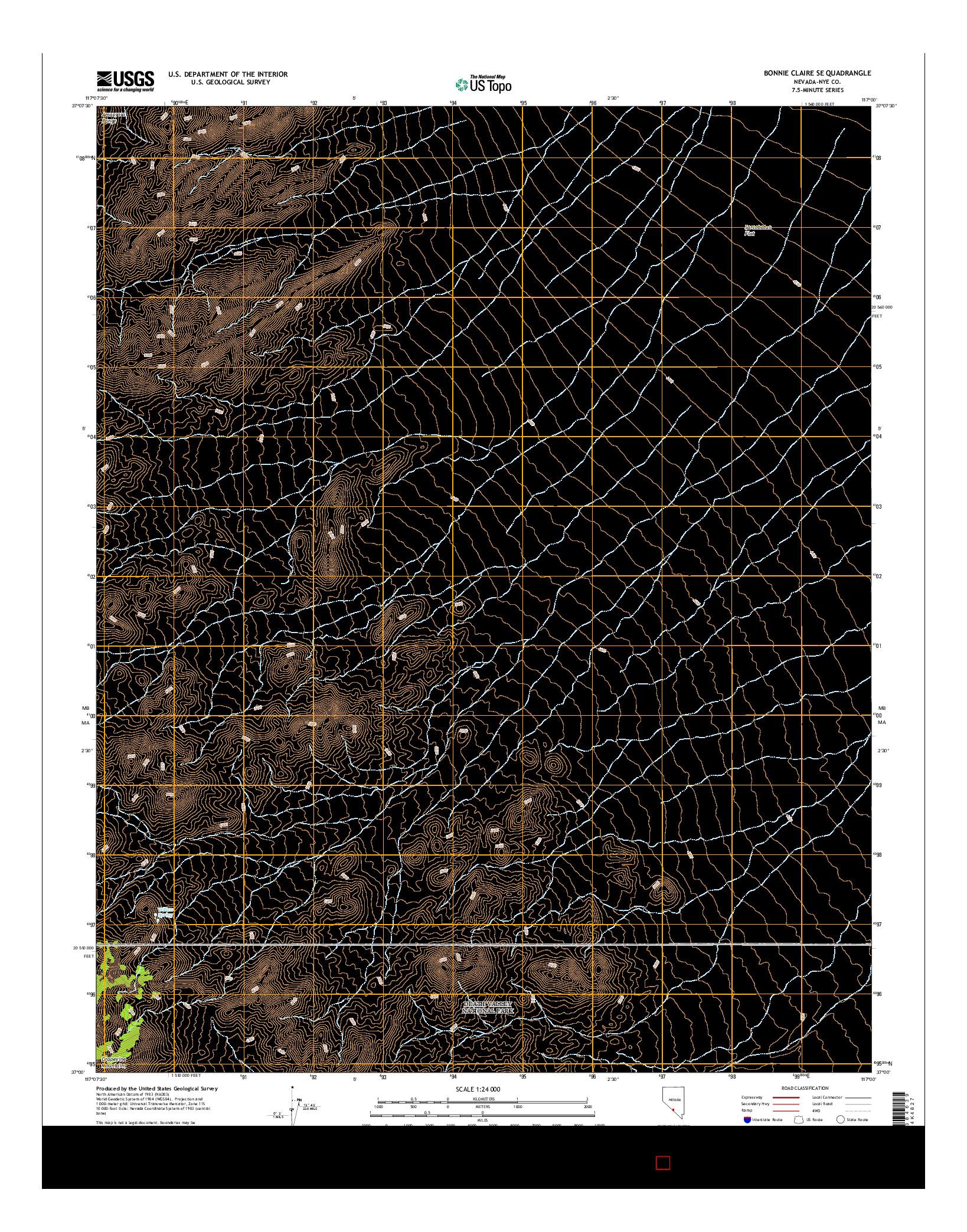USGS US TOPO 7.5-MINUTE MAP FOR BONNIE CLAIRE SE, NV 2014