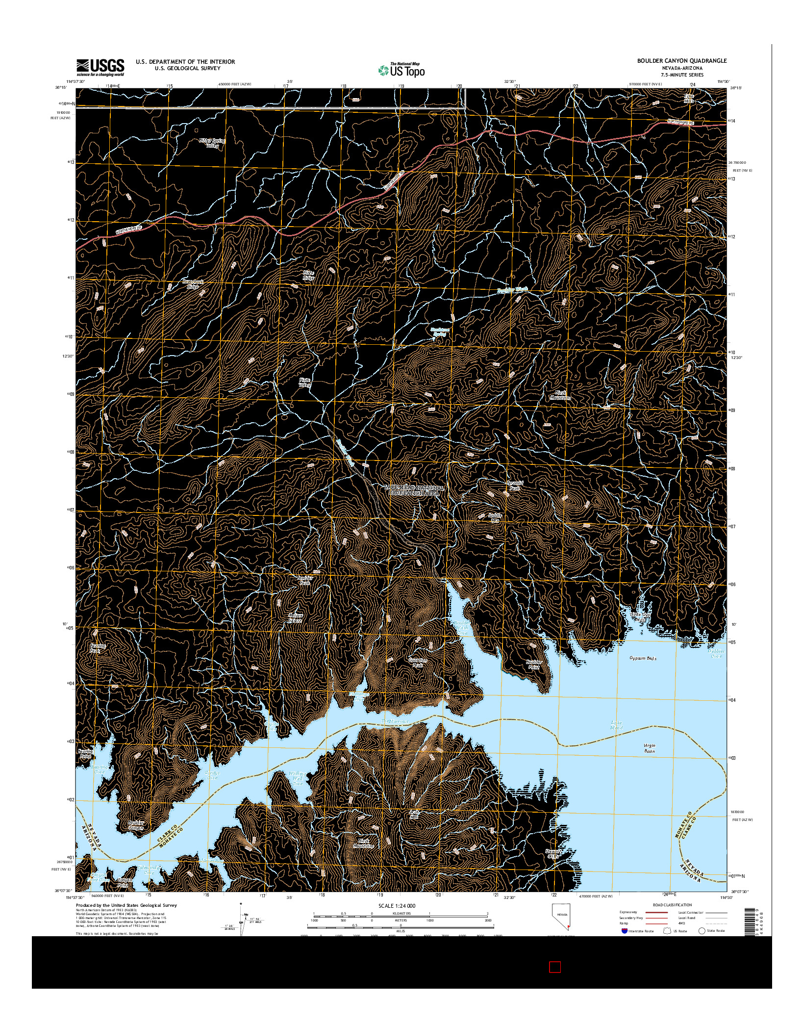 USGS US TOPO 7.5-MINUTE MAP FOR BOULDER CANYON, NV-AZ 2014