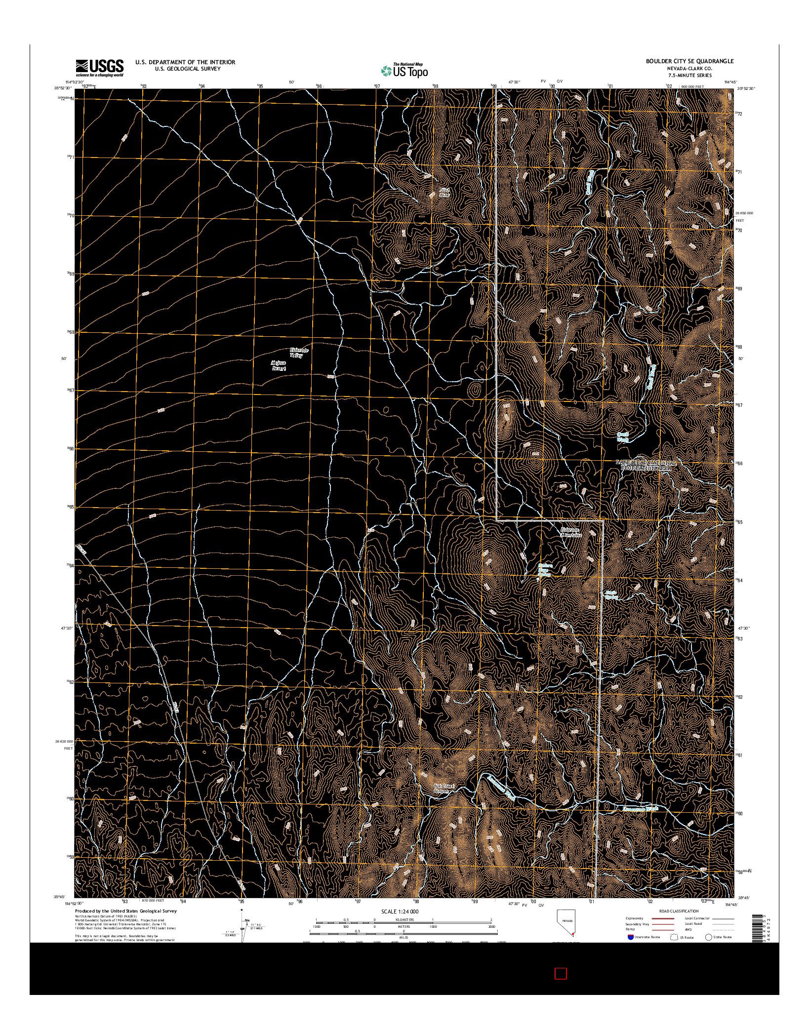 USGS US TOPO 7.5-MINUTE MAP FOR BOULDER CITY SE, NV 2014