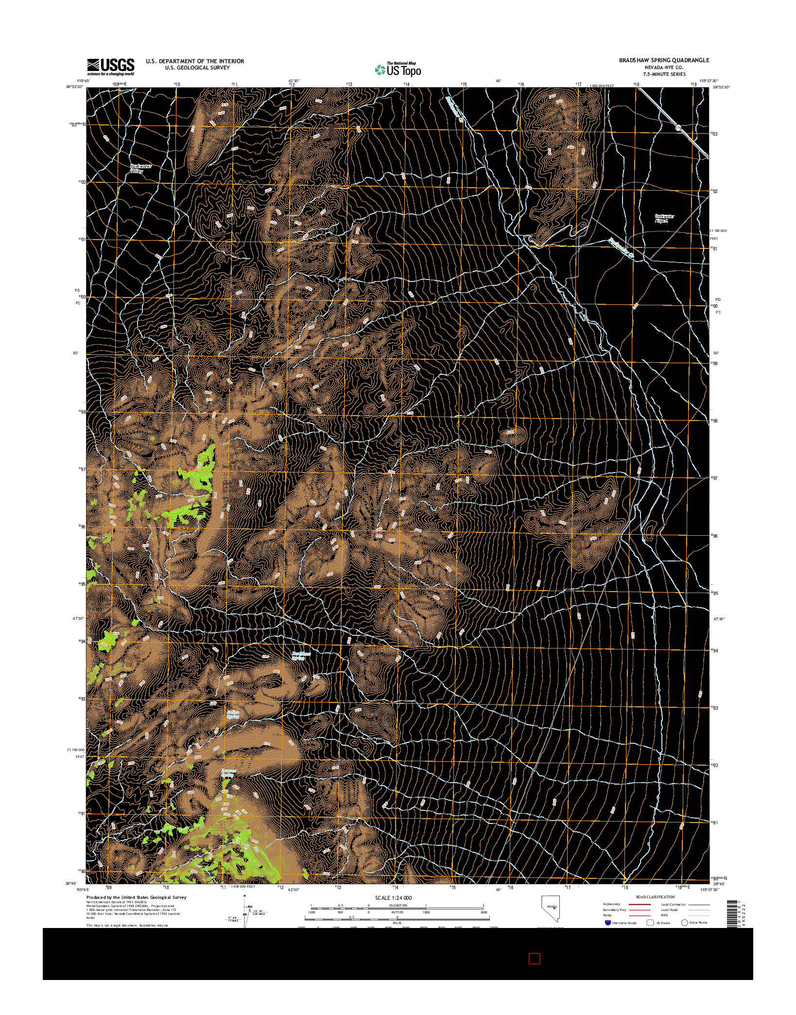 USGS US TOPO 7.5-MINUTE MAP FOR BRADSHAW SPRING, NV 2014