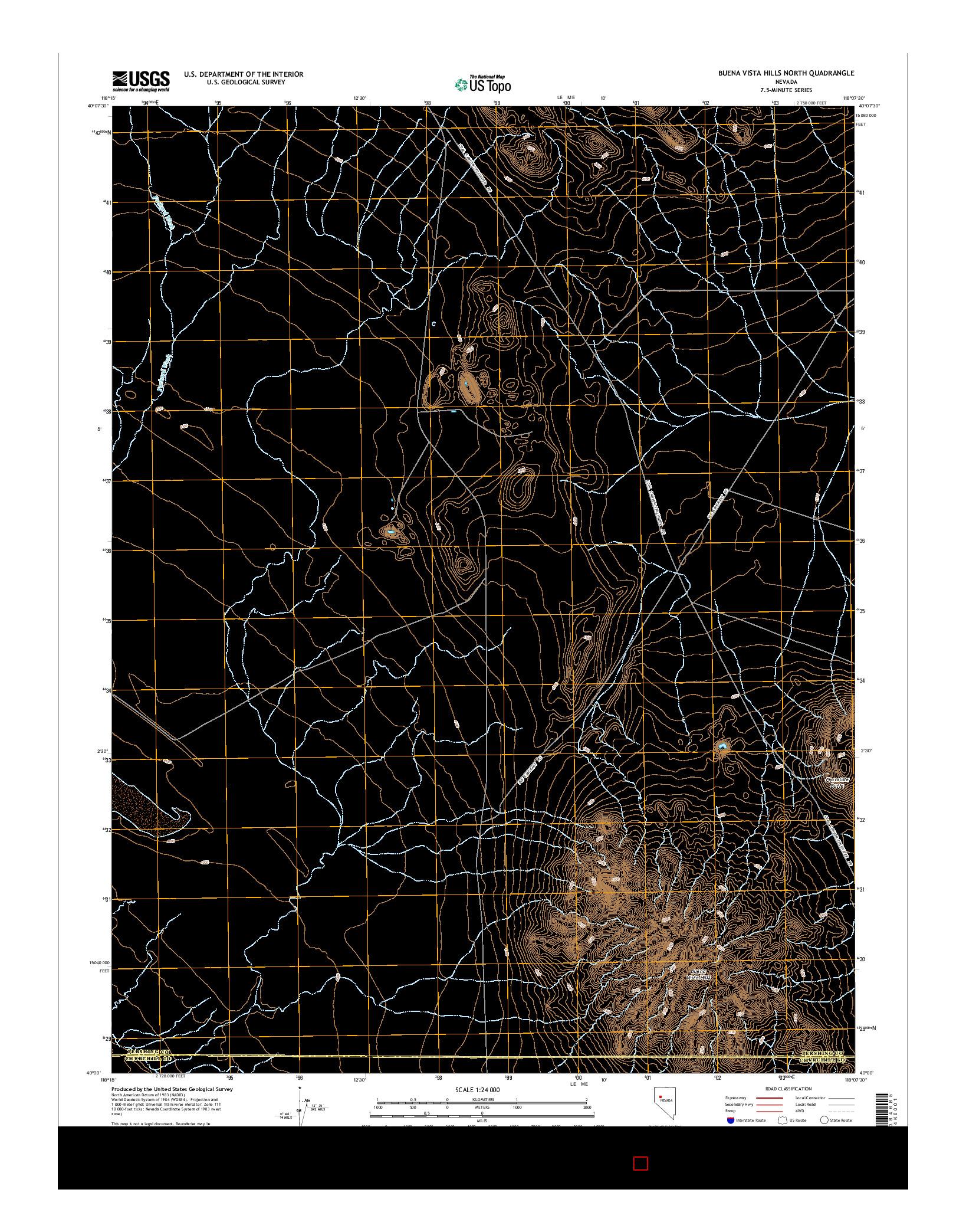 USGS US TOPO 7.5-MINUTE MAP FOR BUENA VISTA HILLS NORTH, NV 2014