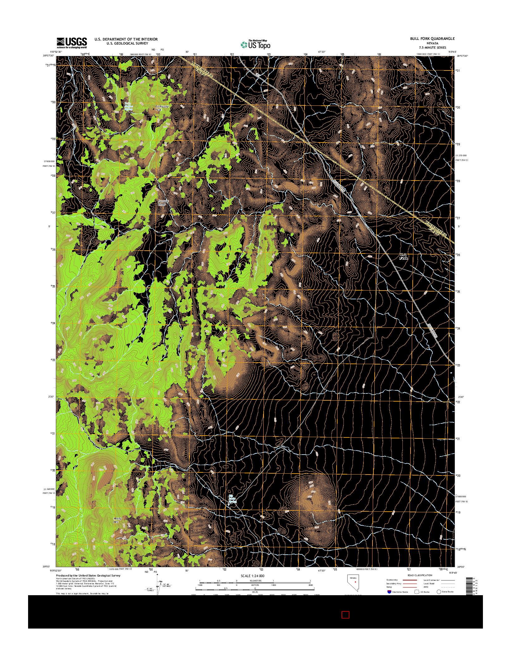 USGS US TOPO 7.5-MINUTE MAP FOR BULL FORK, NV 2014
