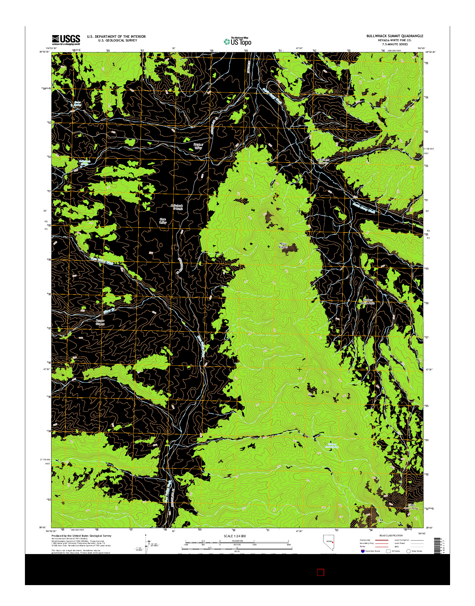 USGS US TOPO 7.5-MINUTE MAP FOR BULLWHACK SUMMIT, NV 2014
