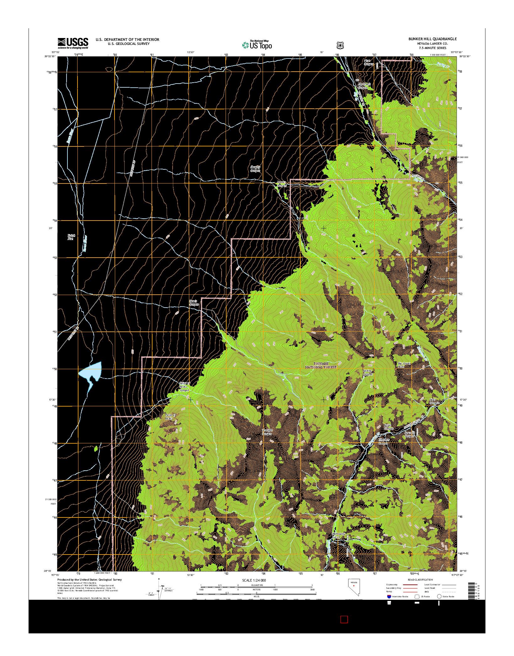 USGS US TOPO 7.5-MINUTE MAP FOR BUNKER HILL, NV 2014