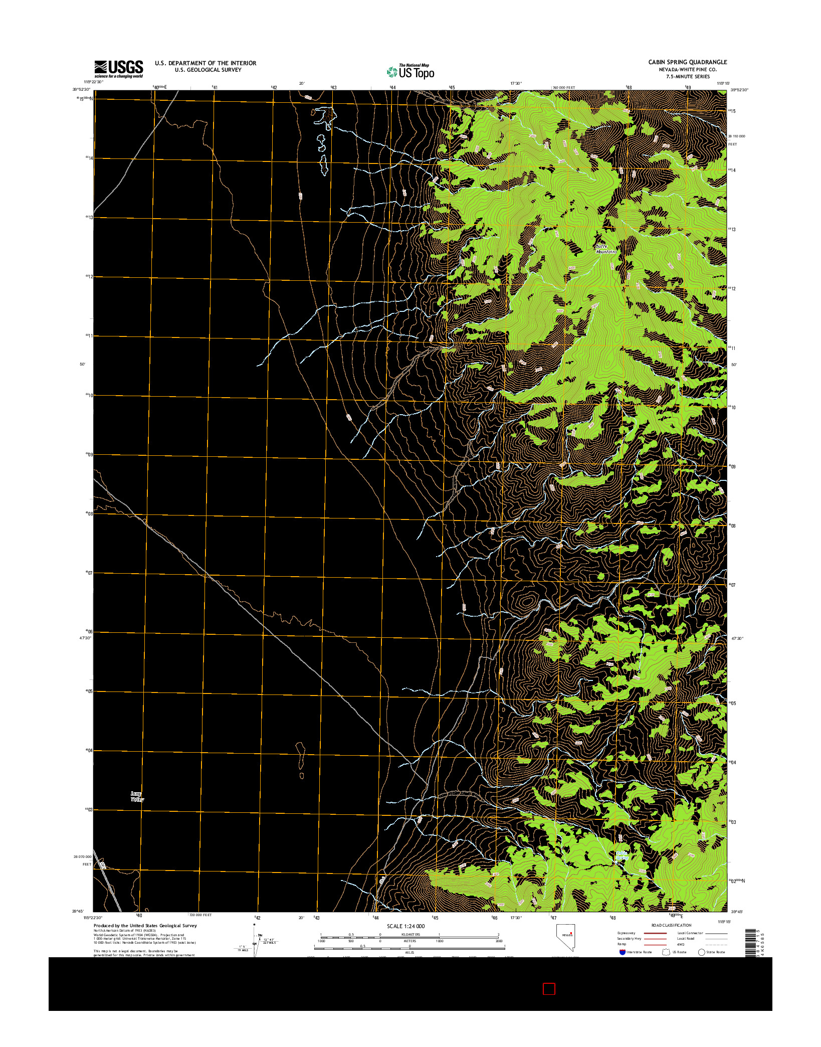 USGS US TOPO 7.5-MINUTE MAP FOR CABIN SPRING, NV 2014