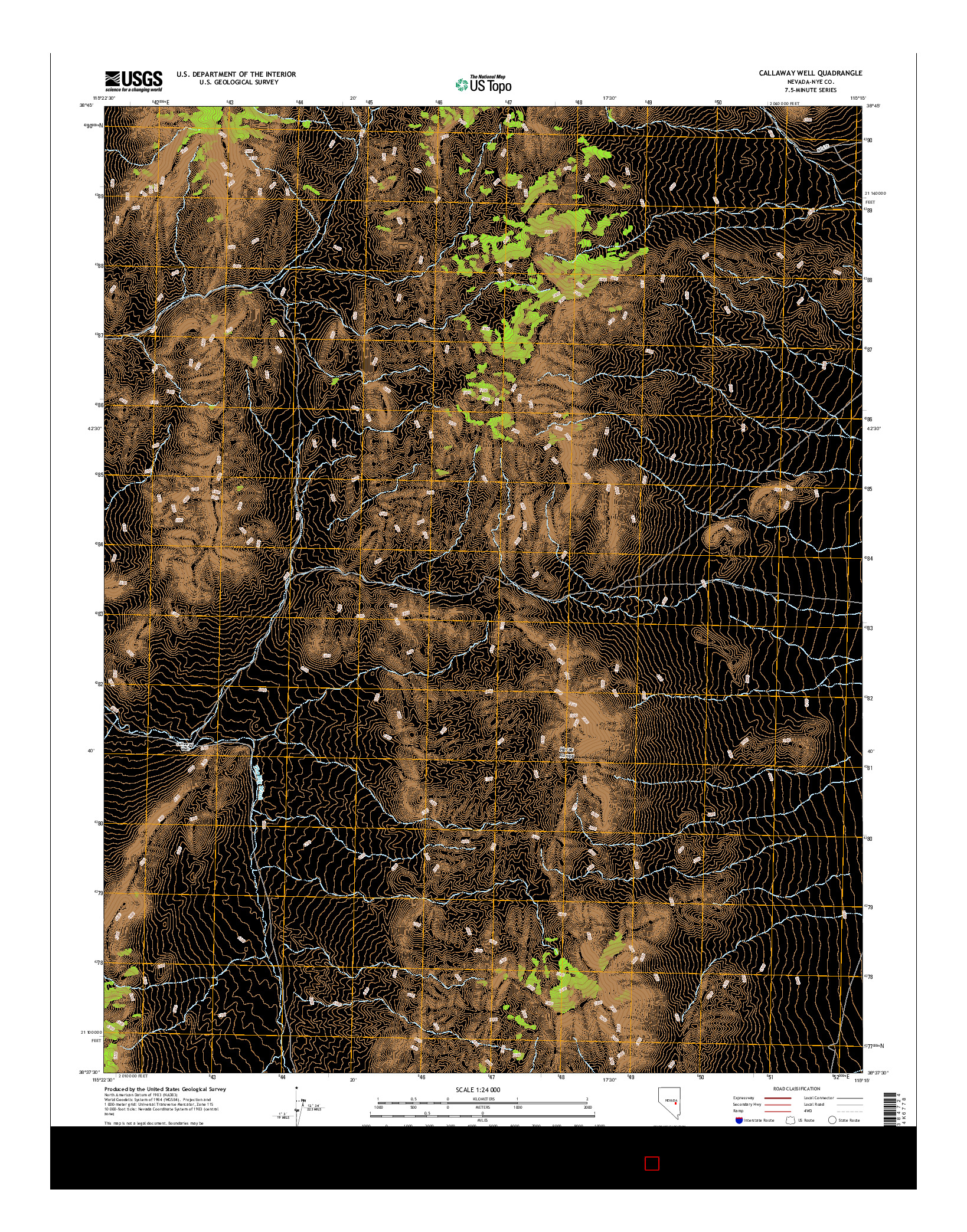 USGS US TOPO 7.5-MINUTE MAP FOR CALLAWAY WELL, NV 2014