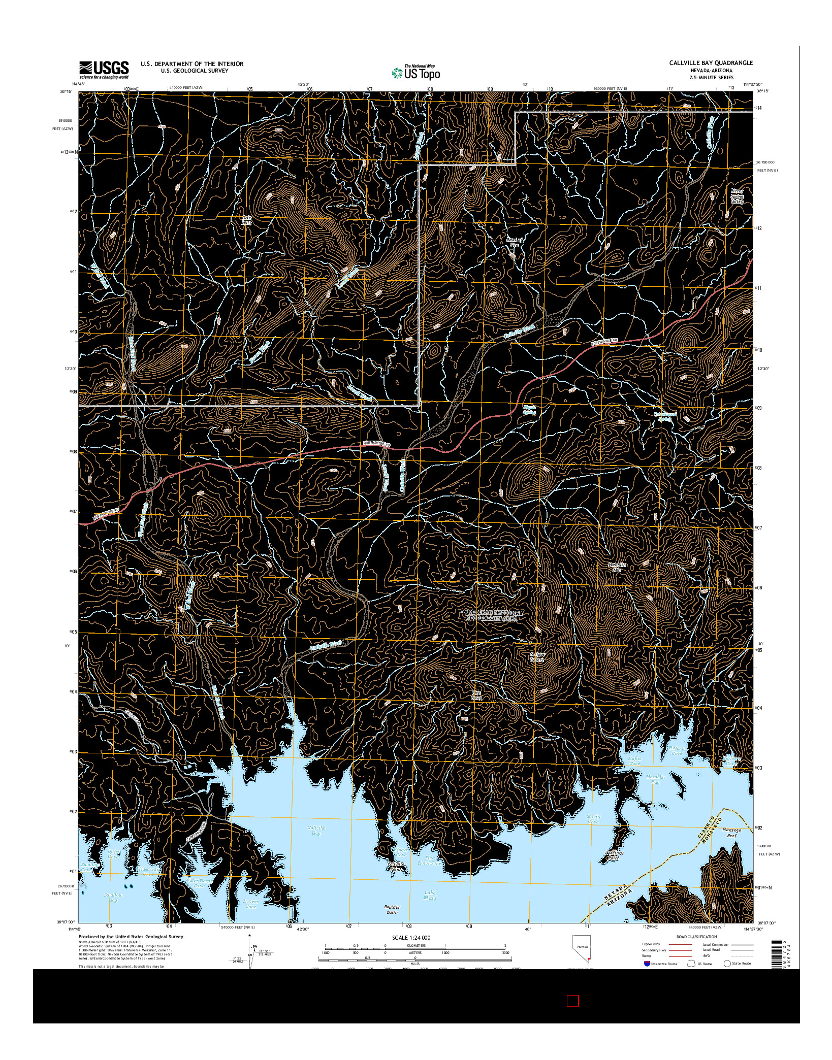 USGS US TOPO 7.5-MINUTE MAP FOR CALLVILLE BAY, NV-AZ 2014