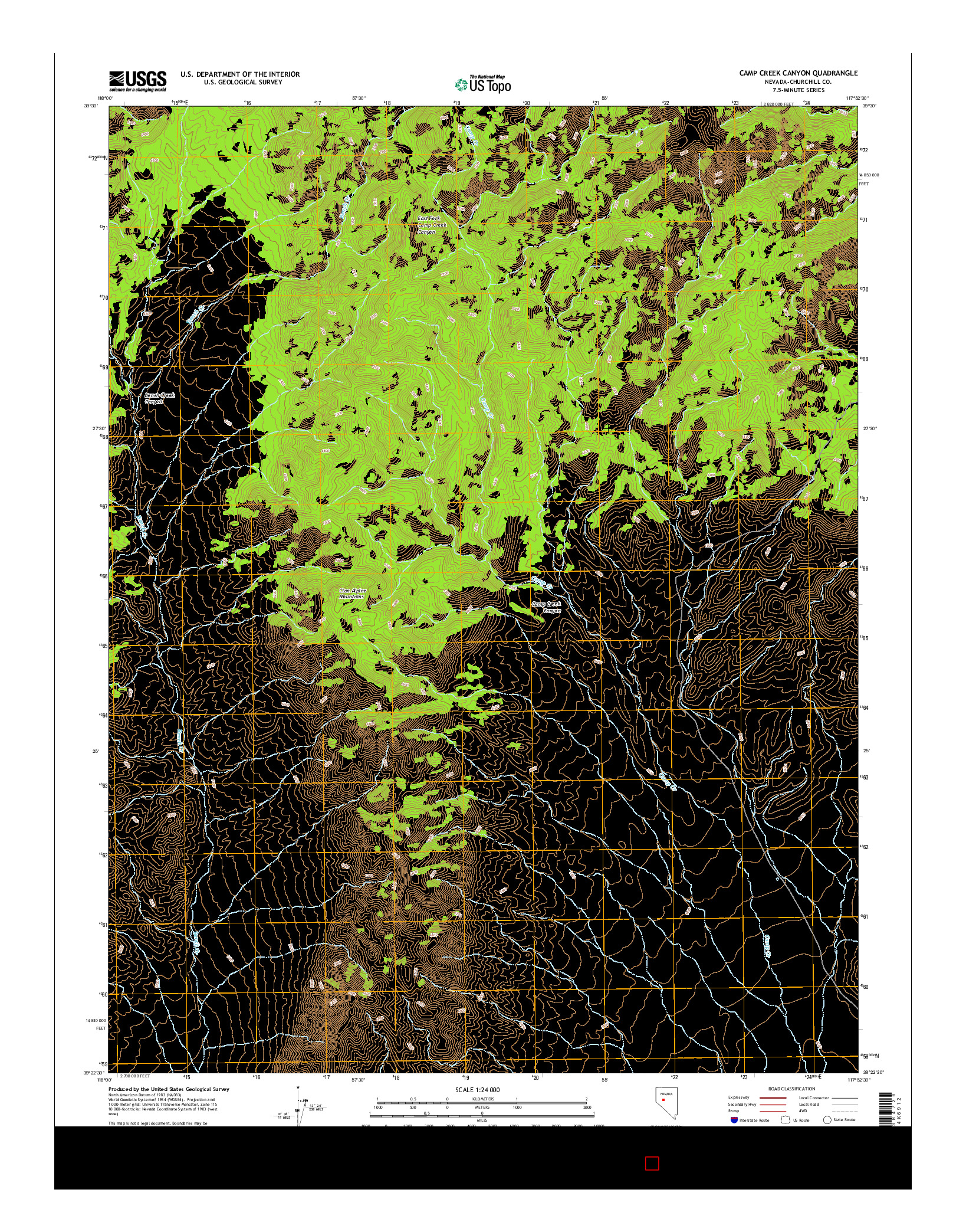 USGS US TOPO 7.5-MINUTE MAP FOR CAMP CREEK CANYON, NV 2014