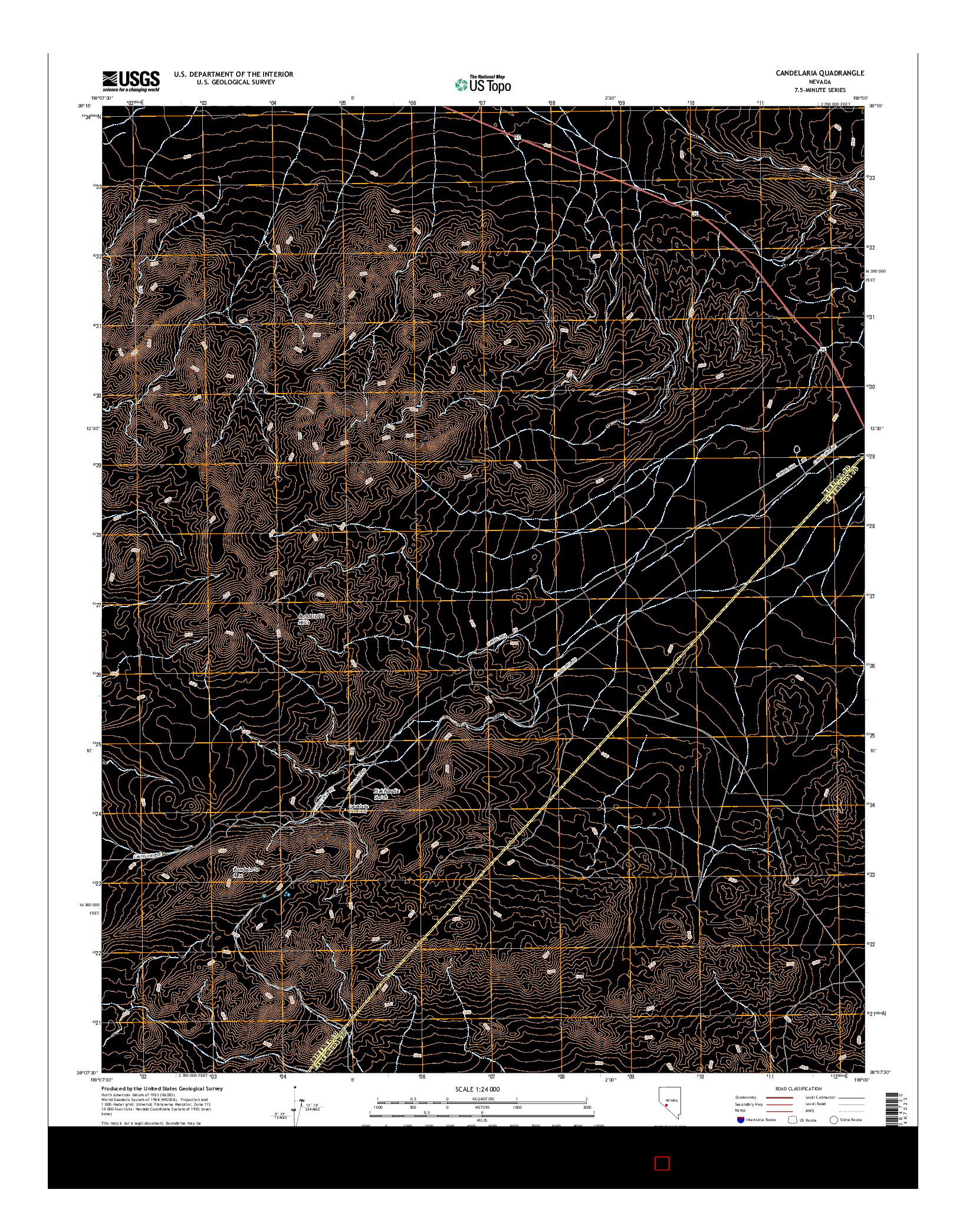 USGS US TOPO 7.5-MINUTE MAP FOR CANDELARIA, NV 2014