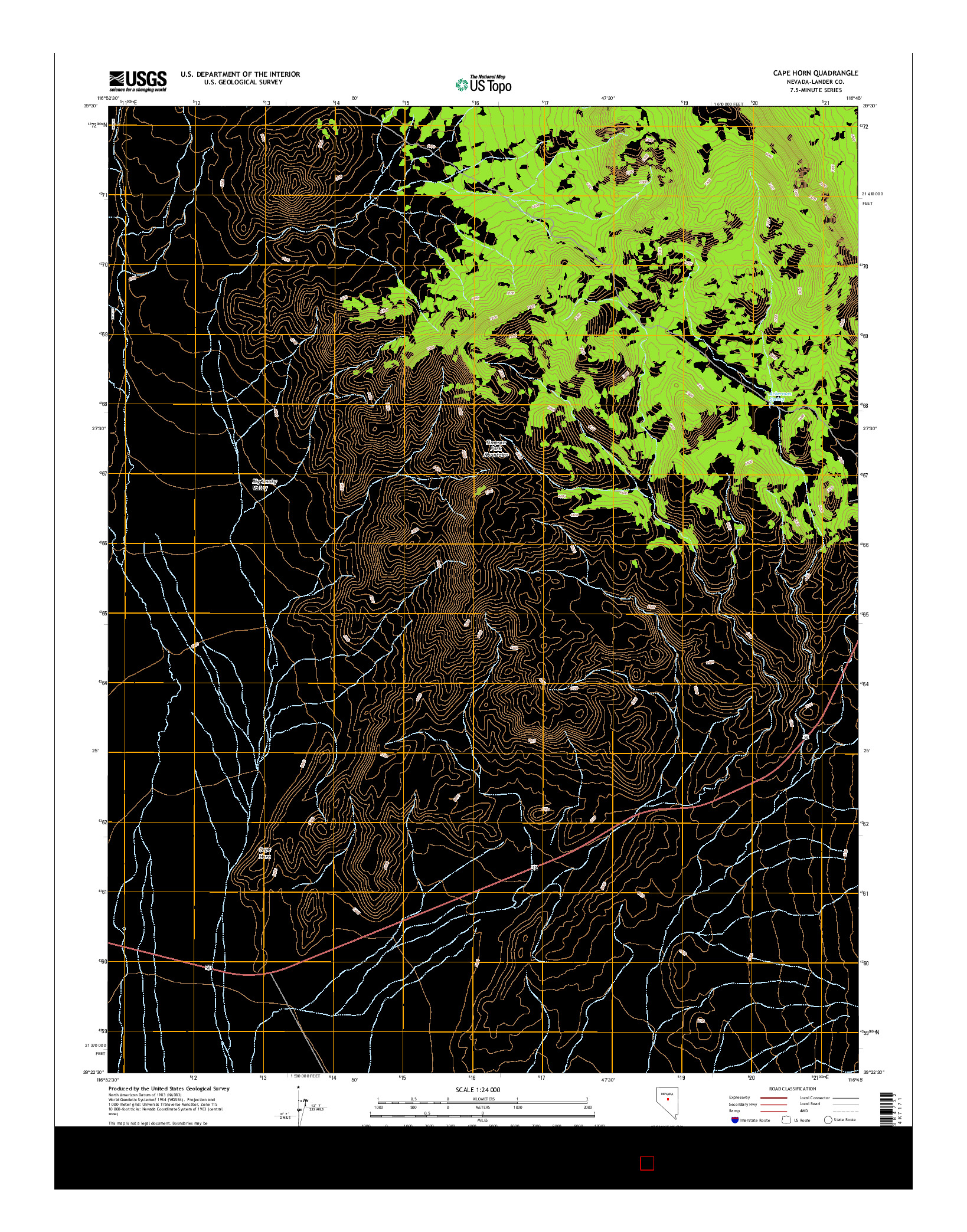 USGS US TOPO 7.5-MINUTE MAP FOR CAPE HORN, NV 2014