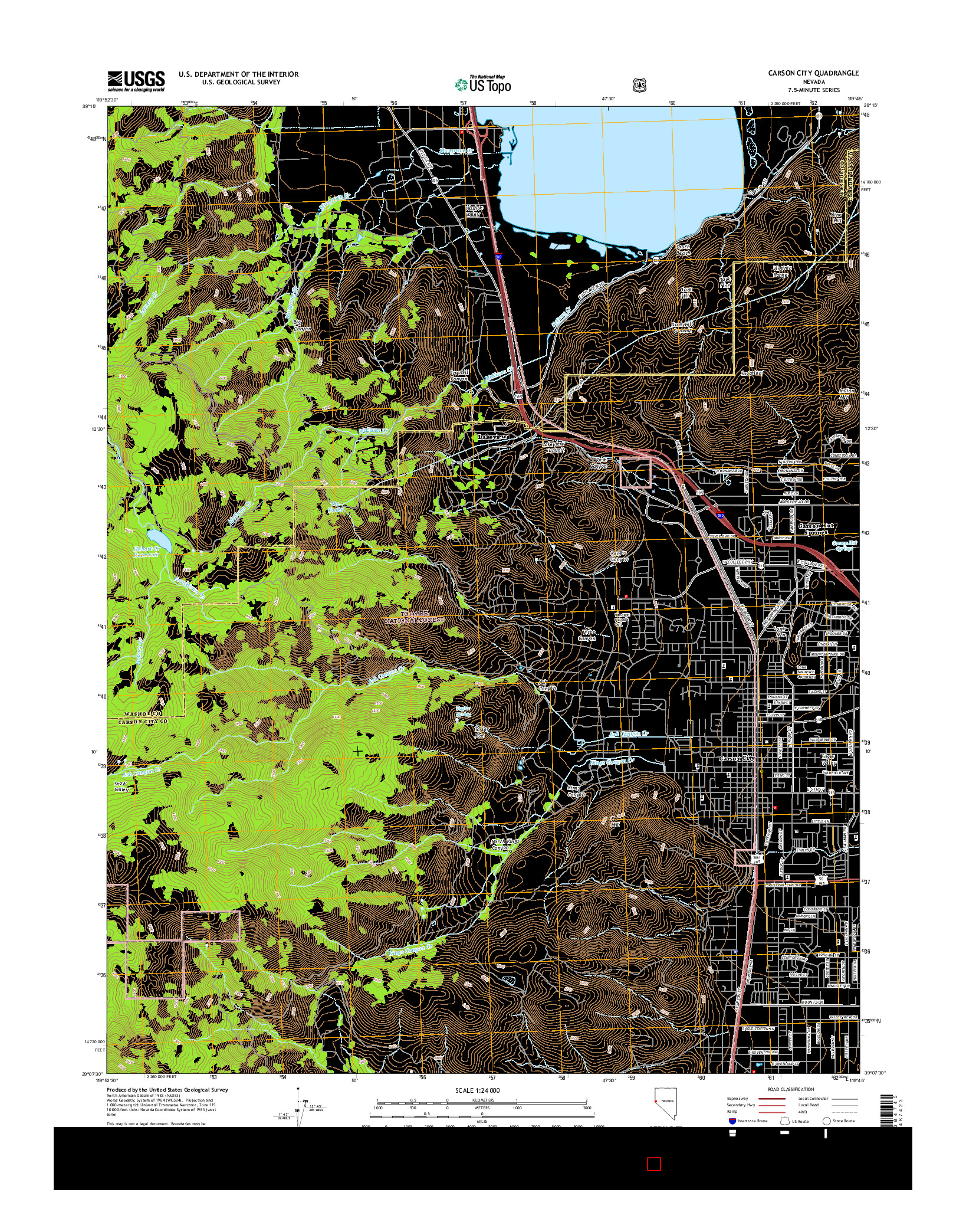 USGS US TOPO 7.5-MINUTE MAP FOR CARSON CITY, NV 2014