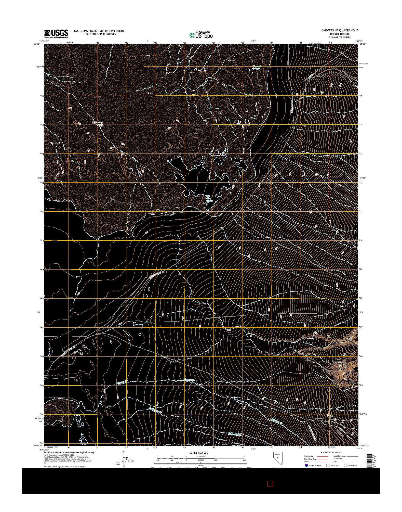 USGS US TOPO 7.5-MINUTE MAP FOR CARVERS NE, NV 2014
