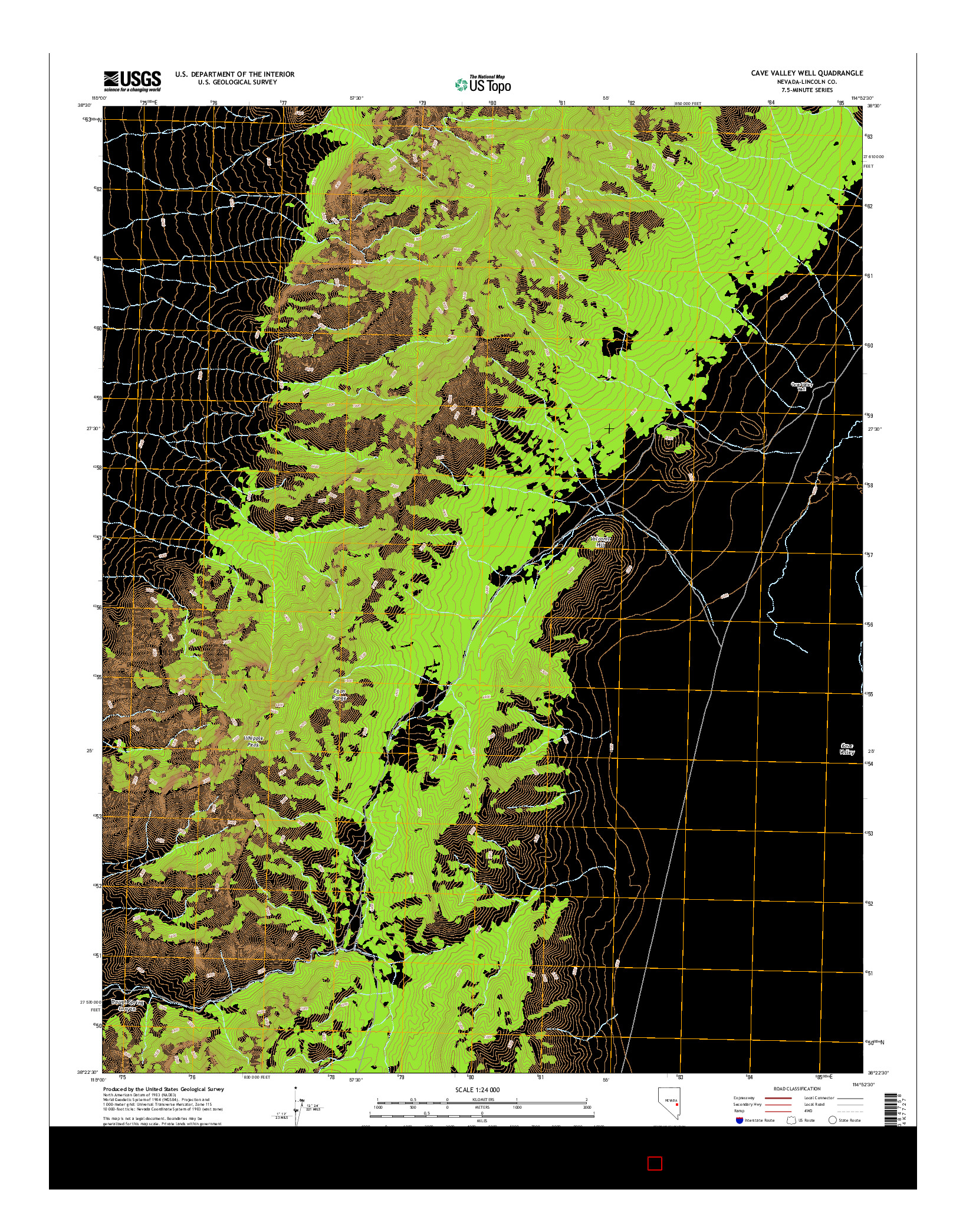 USGS US TOPO 7.5-MINUTE MAP FOR CAVE VALLEY WELL, NV 2014