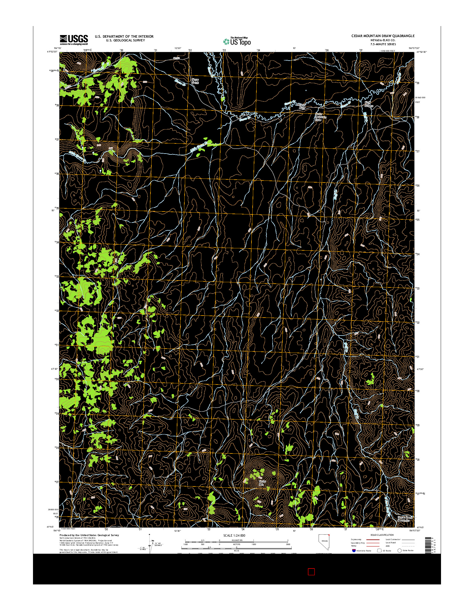 USGS US TOPO 7.5-MINUTE MAP FOR CEDAR MOUNTAIN DRAW, NV 2014