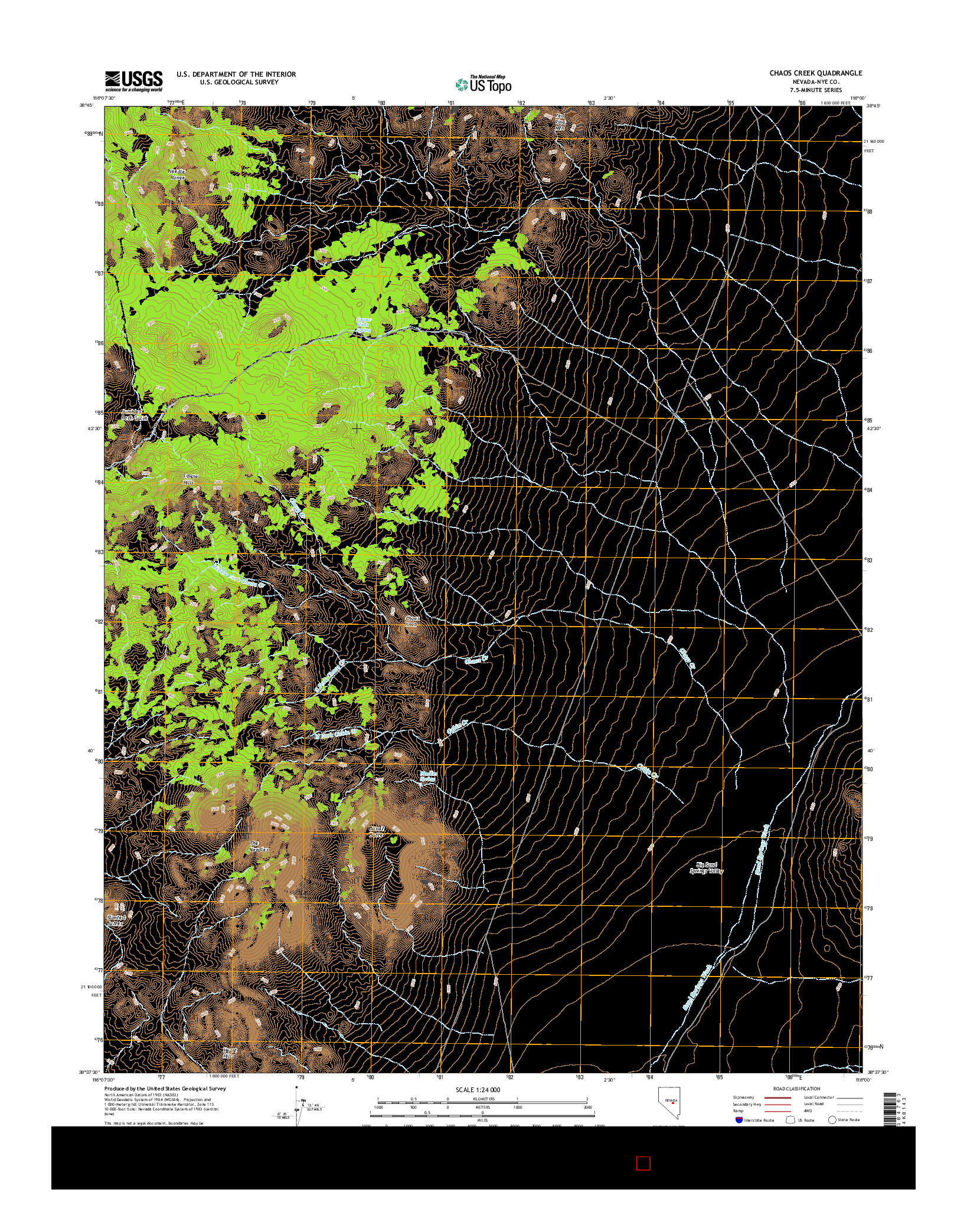 USGS US TOPO 7.5-MINUTE MAP FOR CHAOS CREEK, NV 2014