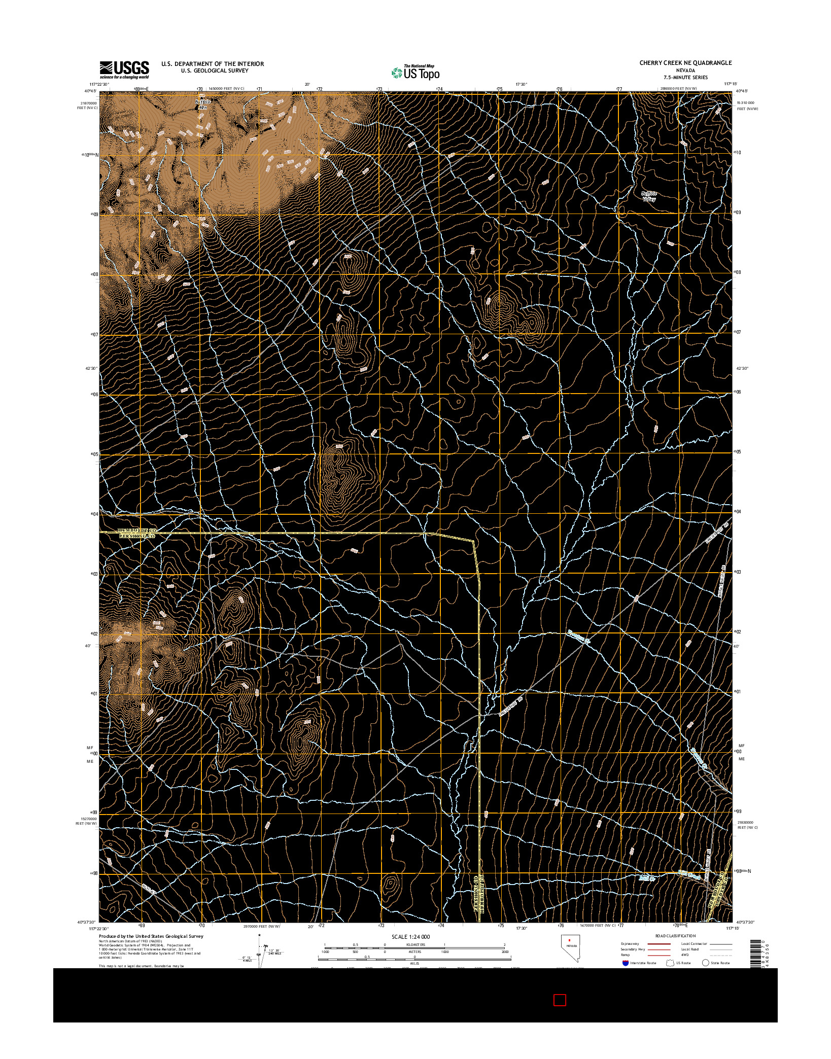 USGS US TOPO 7.5-MINUTE MAP FOR CHERRY CREEK NE, NV 2014