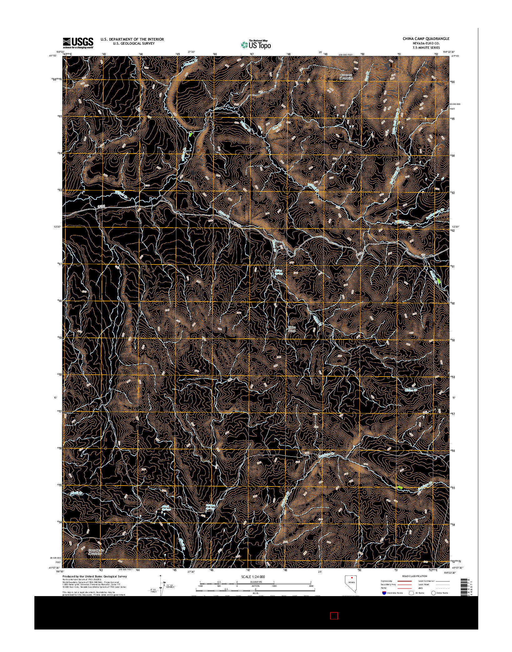 USGS US TOPO 7.5-MINUTE MAP FOR CHINA CAMP, NV 2014