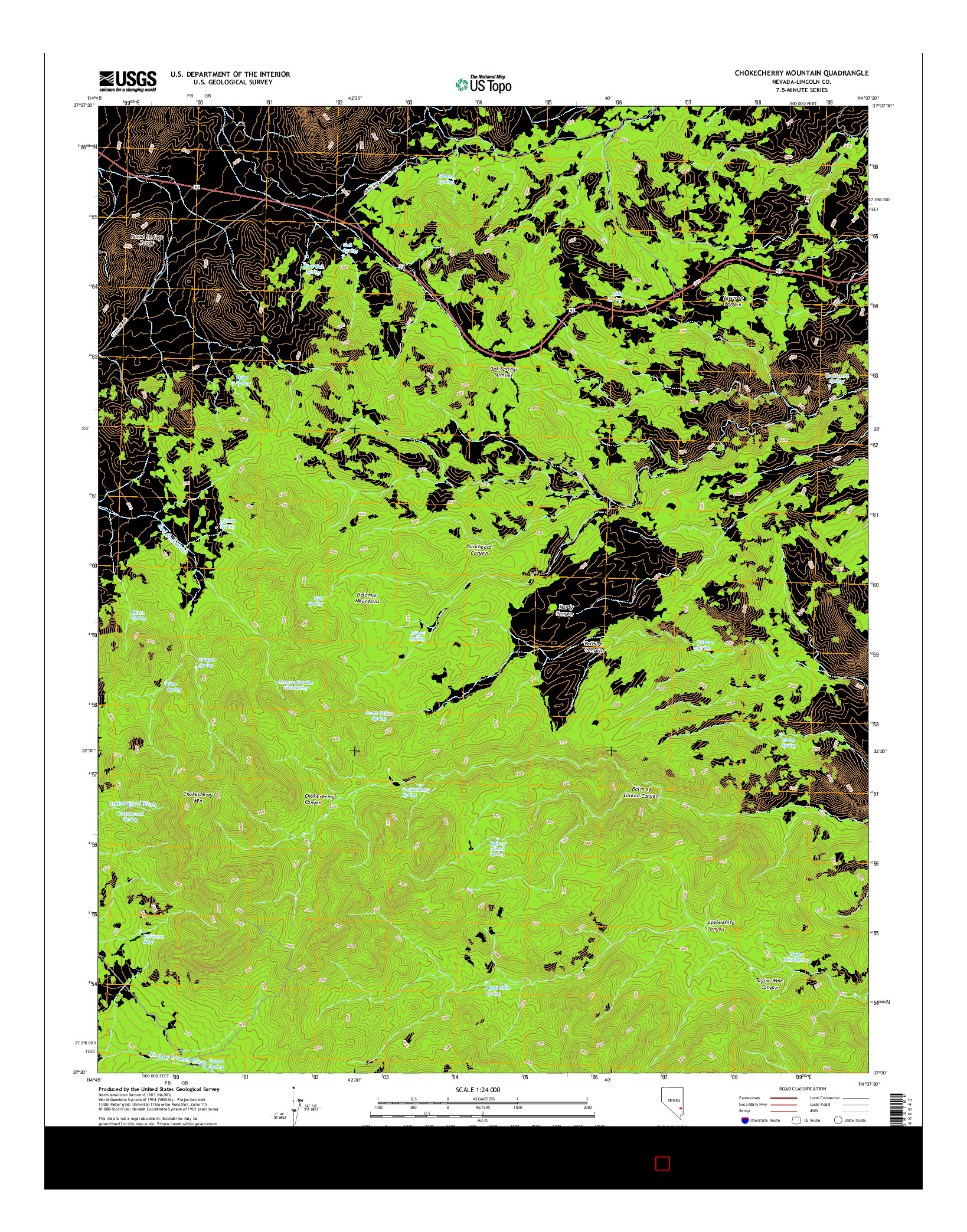 USGS US TOPO 7.5-MINUTE MAP FOR CHOKECHERRY MOUNTAIN, NV 2014