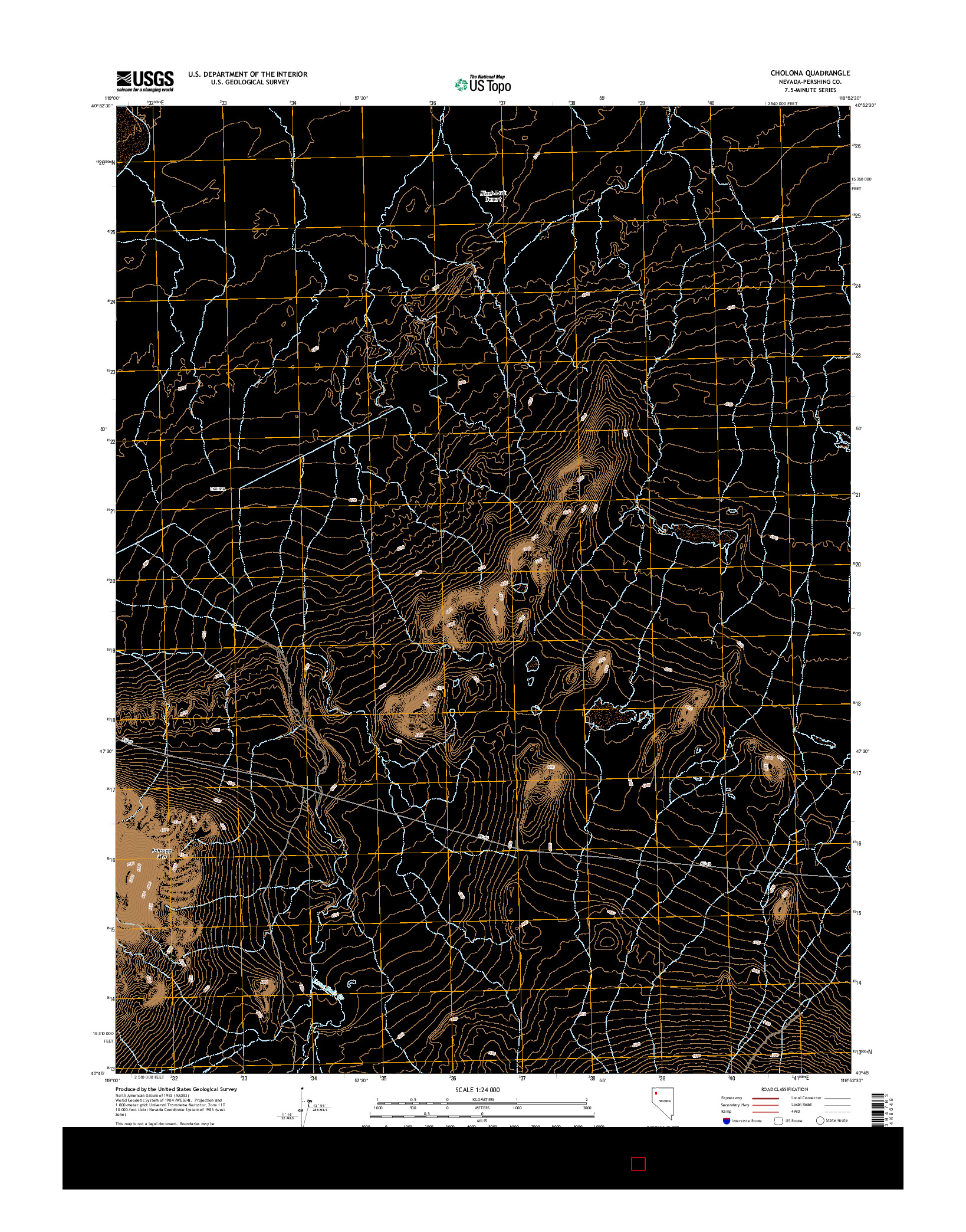 USGS US TOPO 7.5-MINUTE MAP FOR CHOLONA, NV 2014